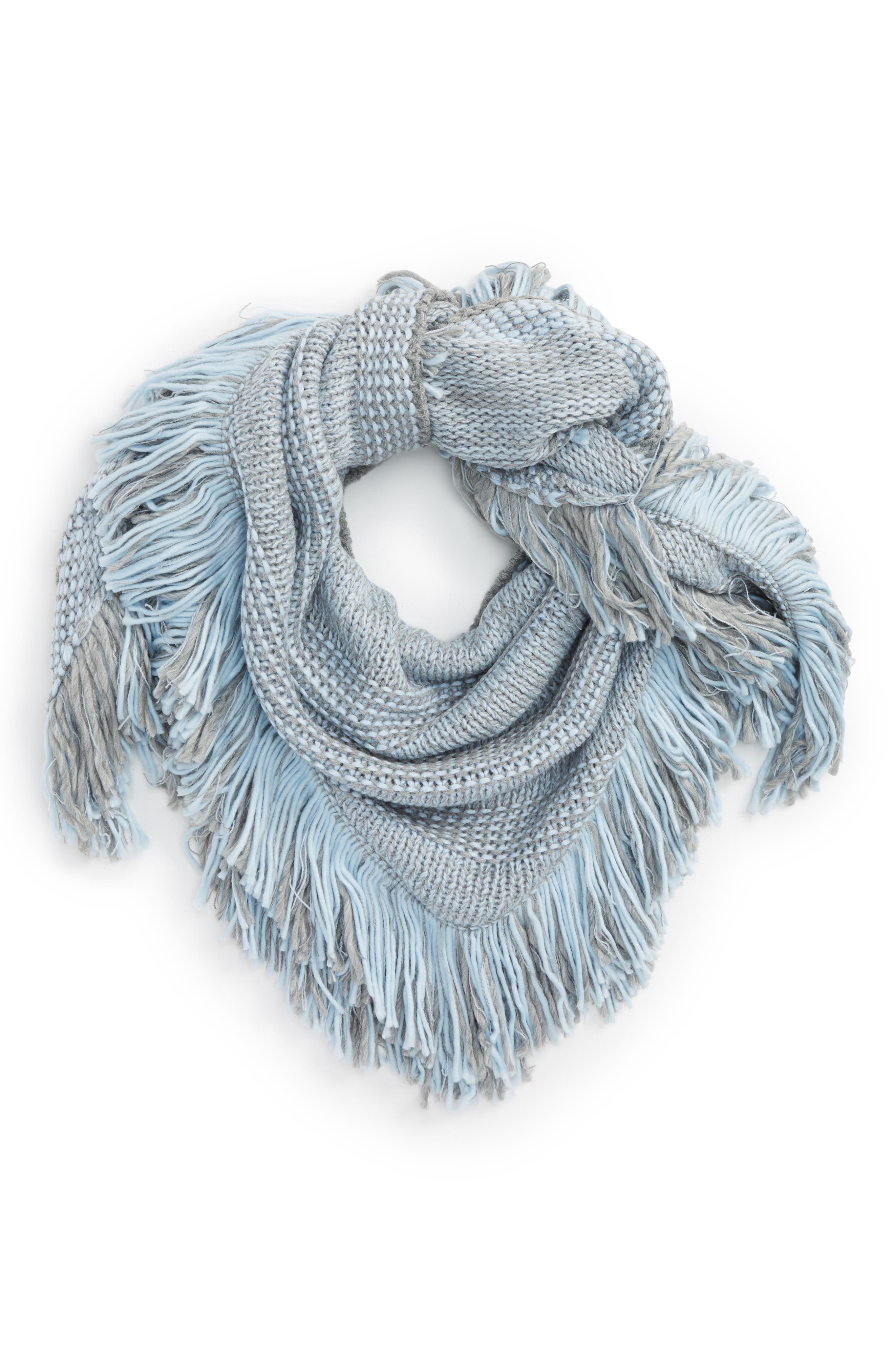 Mouline Fringe Triangle Scarf,                             Main thumbnail 1, color,                             Heather Gray/ Skyway