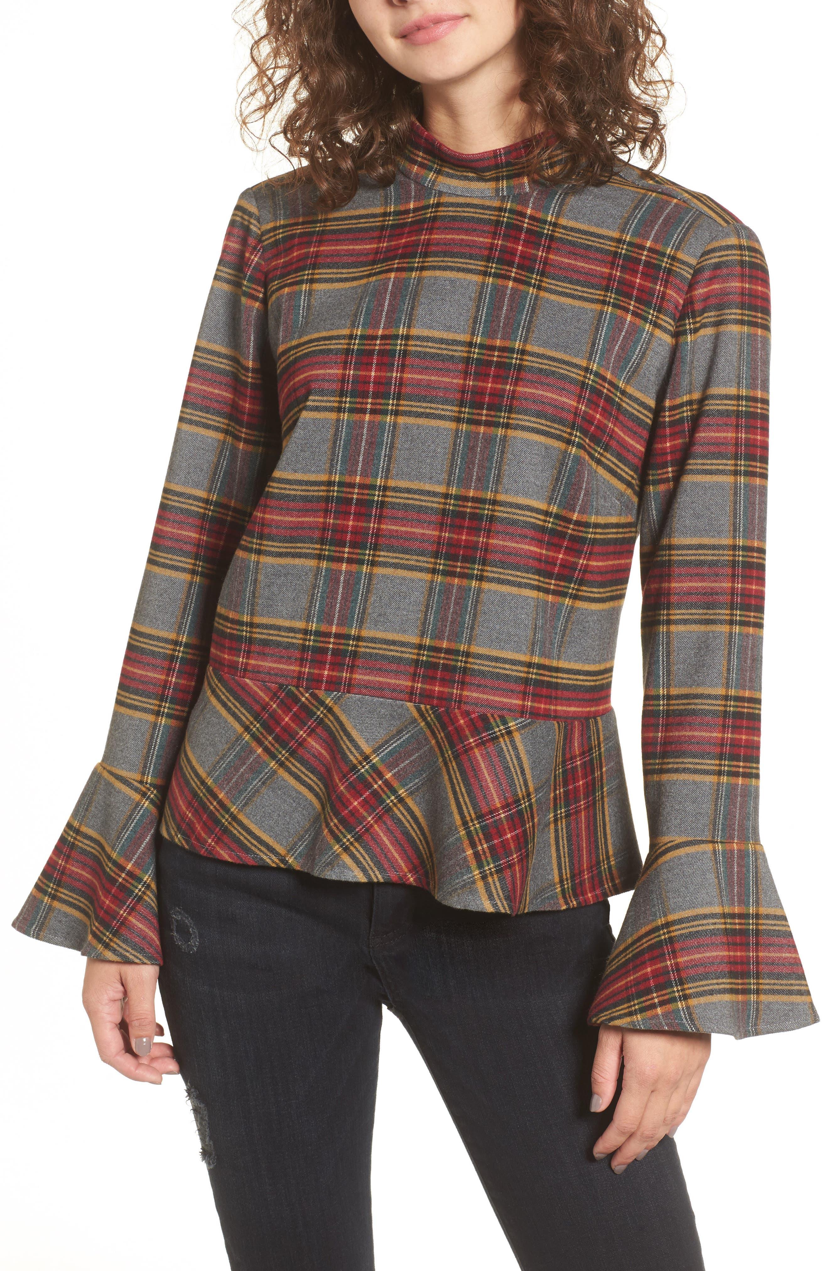 Plaid Ruffle Hem Shirt,                         Main,                         color, Grey Medium Heather Tartan