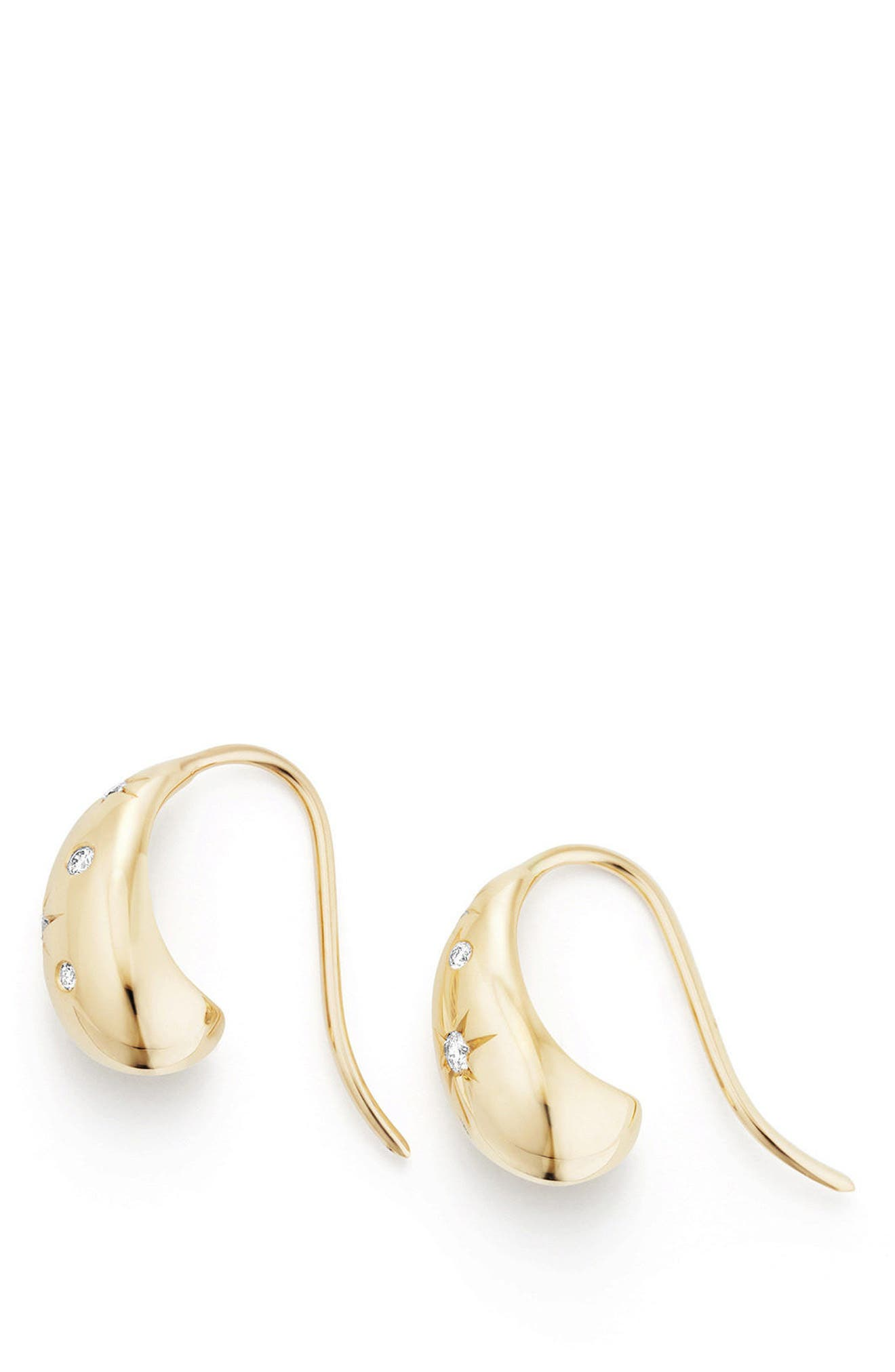Pure Form Pod Earrings with Diamonds in 18K Gold, 15mm,                             Alternate thumbnail 2, color,                             Yellow Gold/ Diamond
