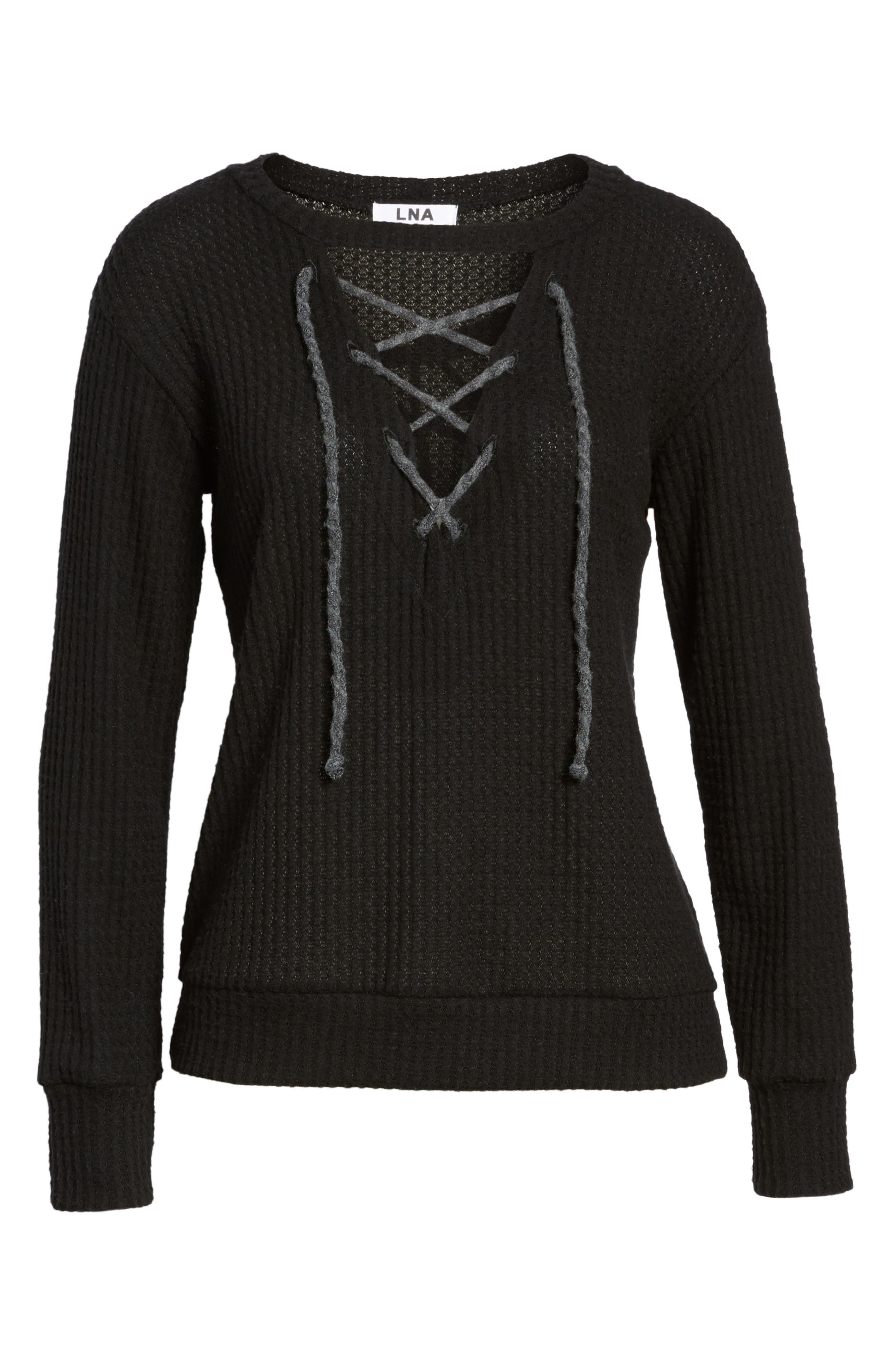 Lace-Up Waffle Knit Sweater,                             Alternate thumbnail 6, color,                             Black