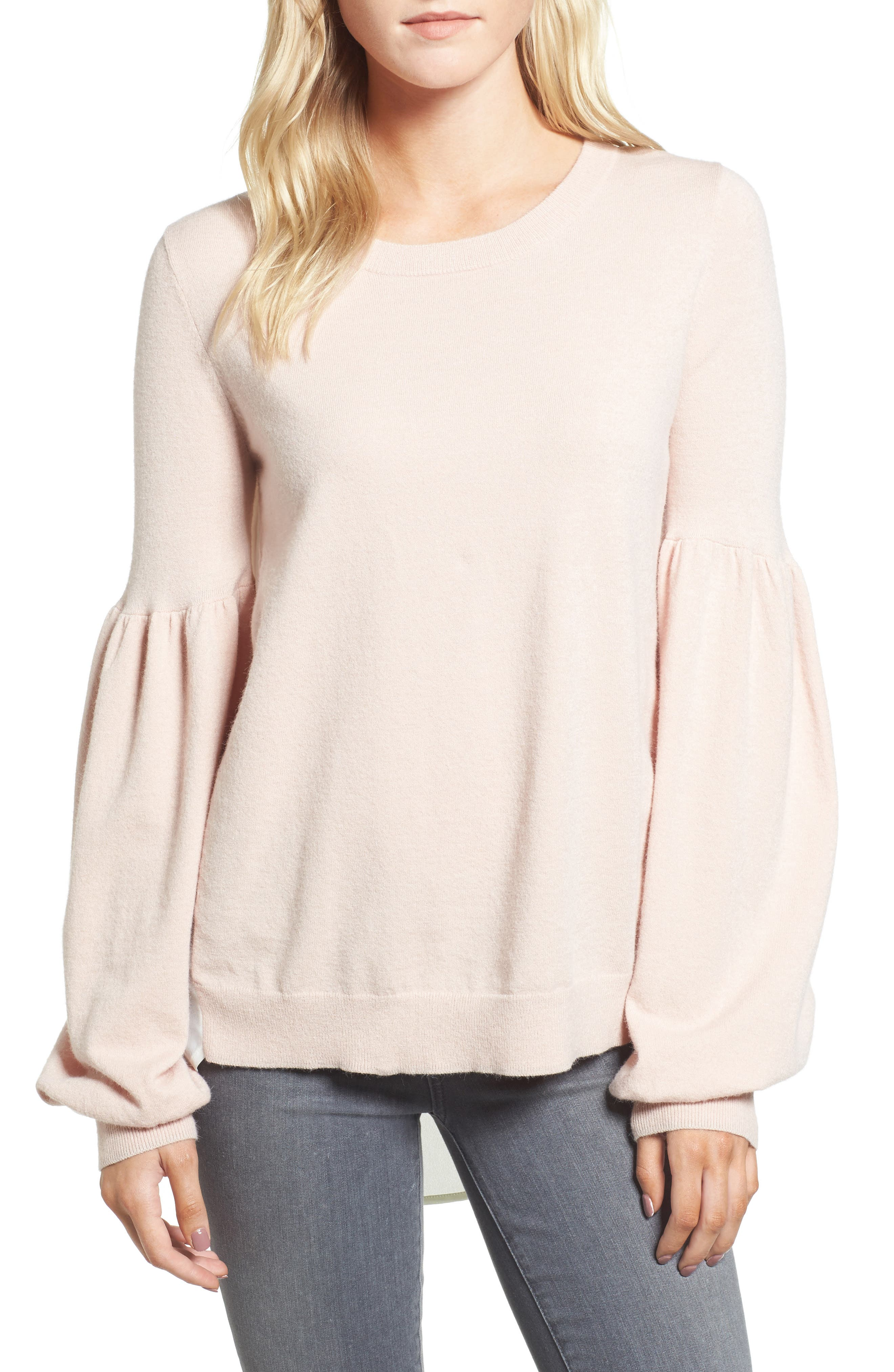 Woven Back Sweater,                         Main,                         color, Pink Hero- White Snow Combo