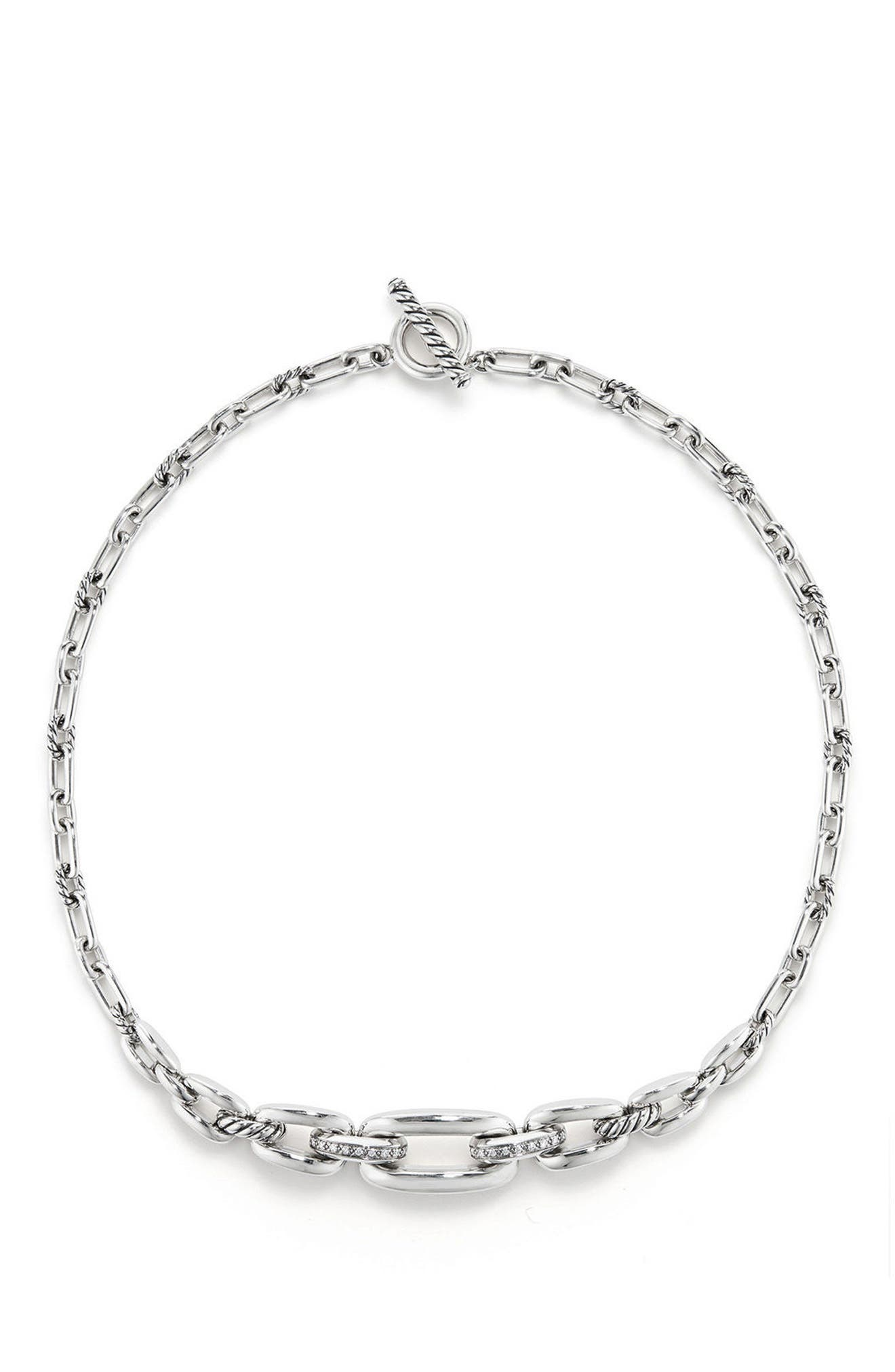 Wellesley Link Chain Station Necklace with Diamonds,                         Main,                         color, Silver