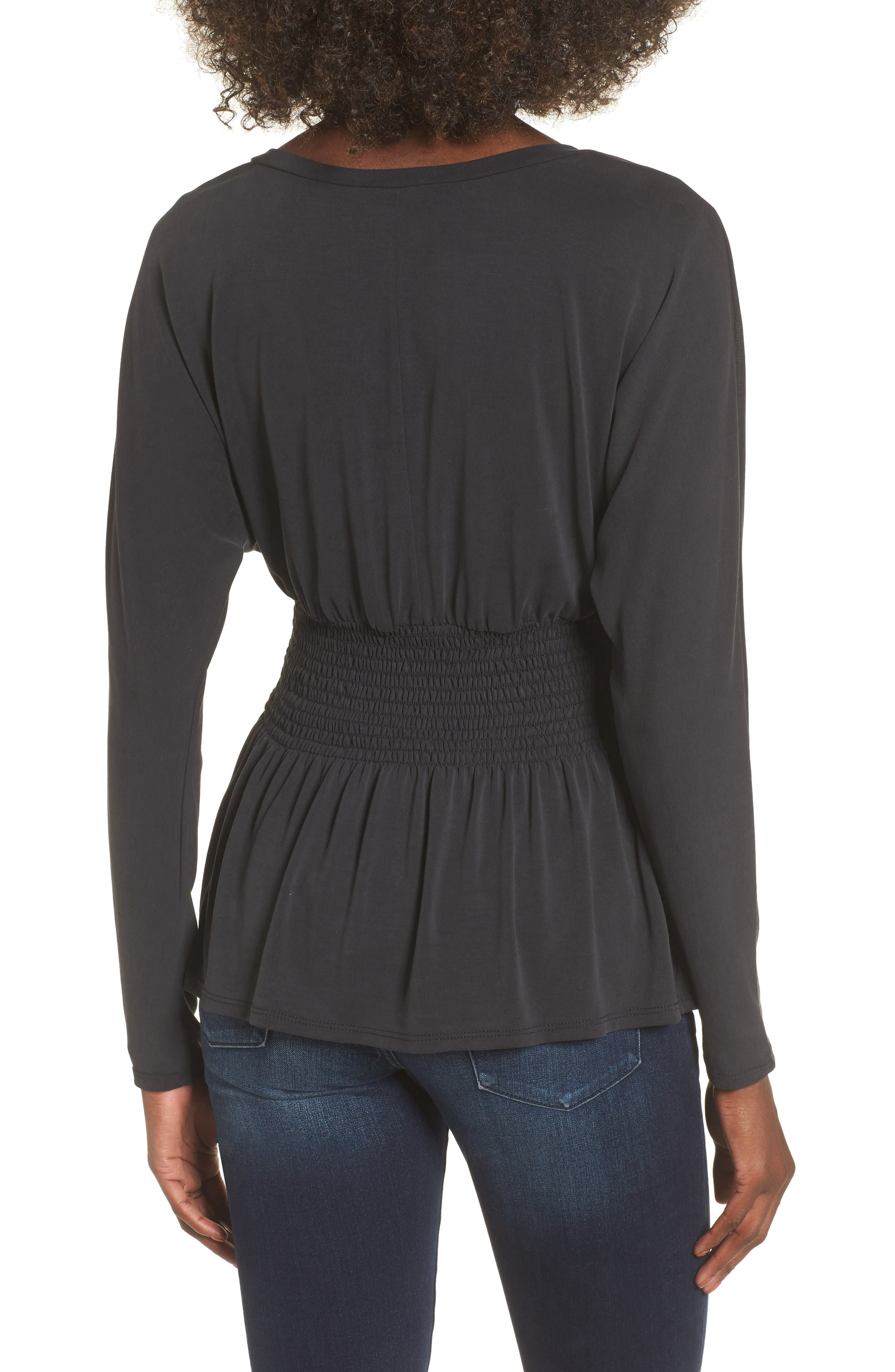 Cupro Smocked Waist Top,                             Alternate thumbnail 2, color,                             Charcoal