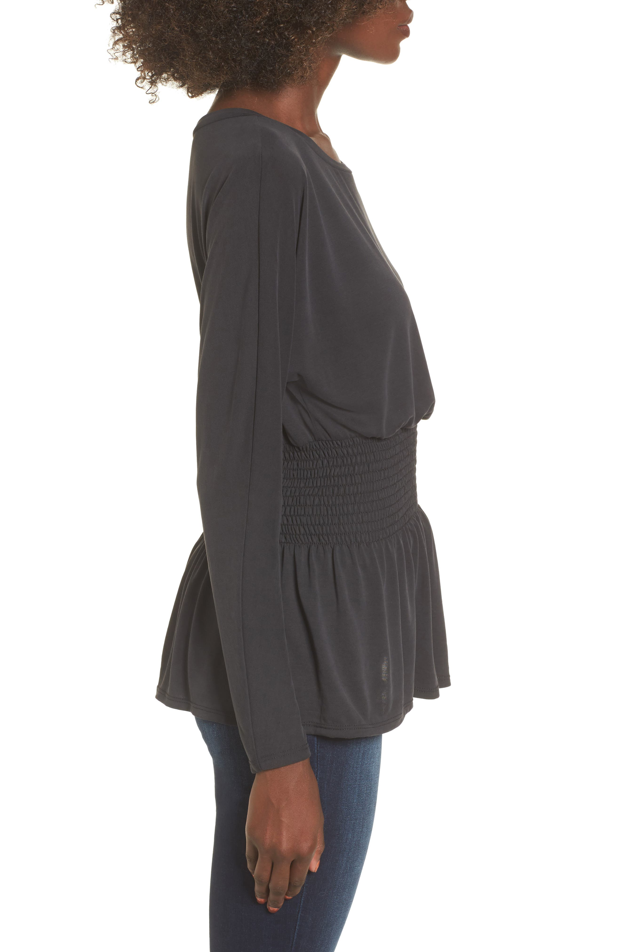 Cupro Smocked Waist Top,                             Alternate thumbnail 3, color,                             Charcoal