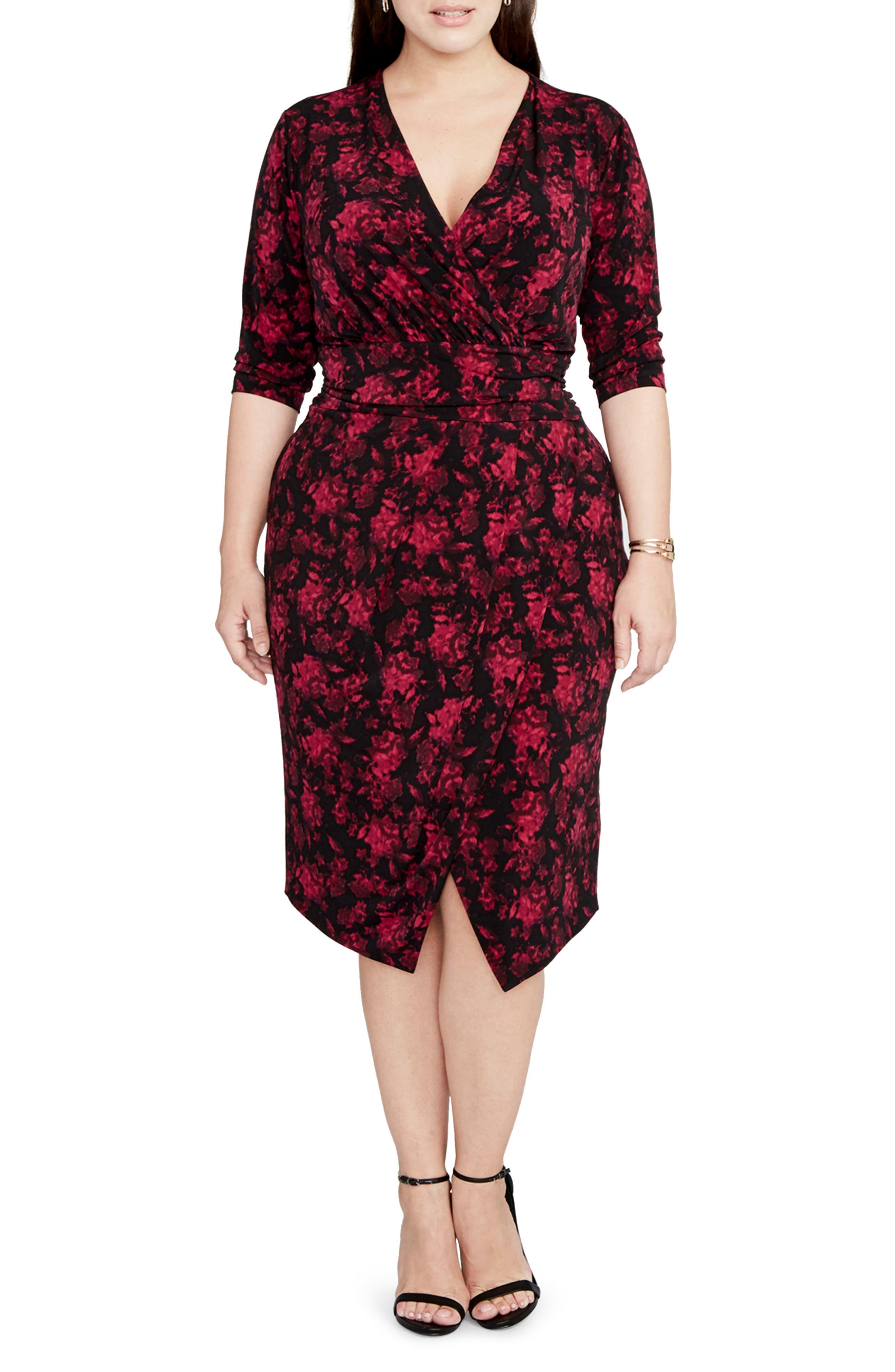 Print Wrap Front Jersey Dress,                         Main,                         color, Fuchsia Combo