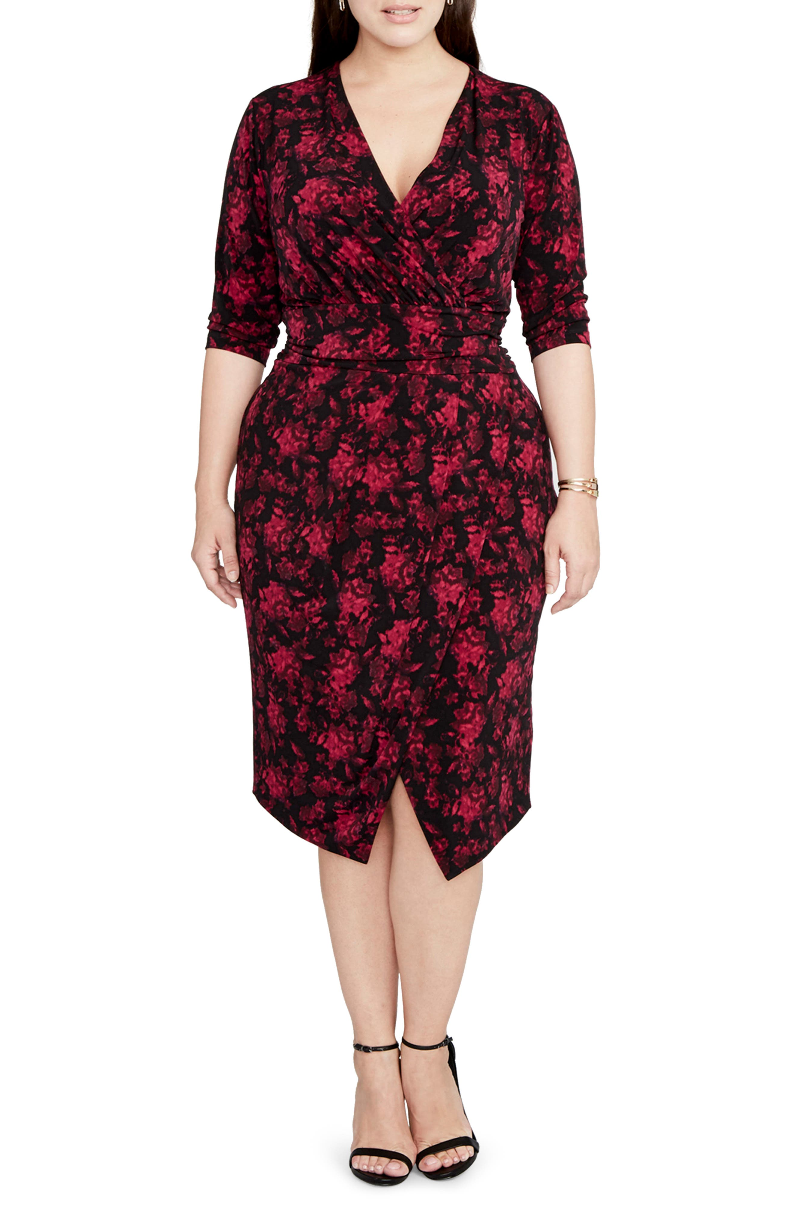 RACHEL Rachel Roy Print Wrap Front Jersey Dress (Plus Size)