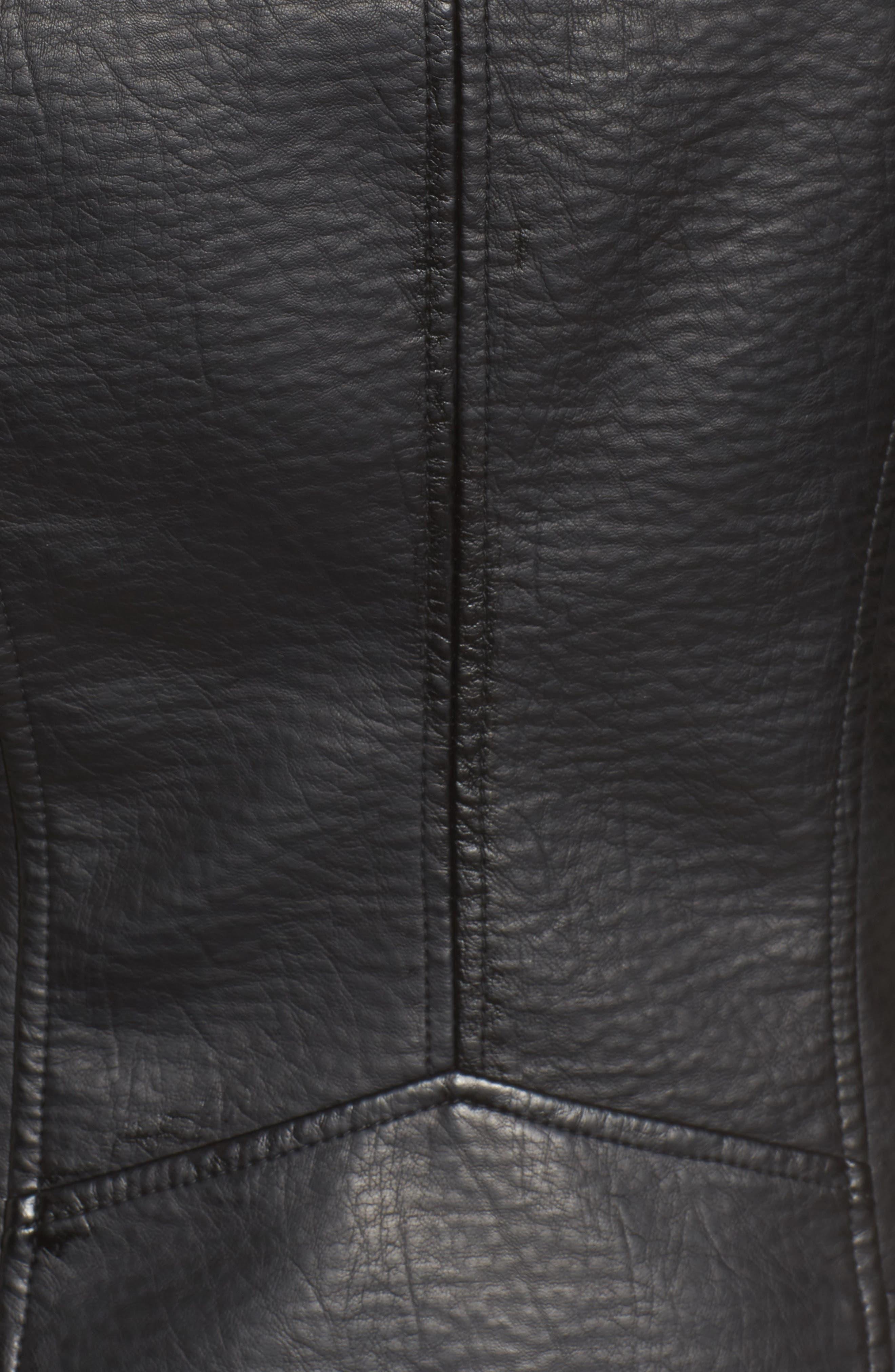 Textured Faux Leather Jacket with Removable Faux Fur Trim,                             Alternate thumbnail 5, color,                             Black