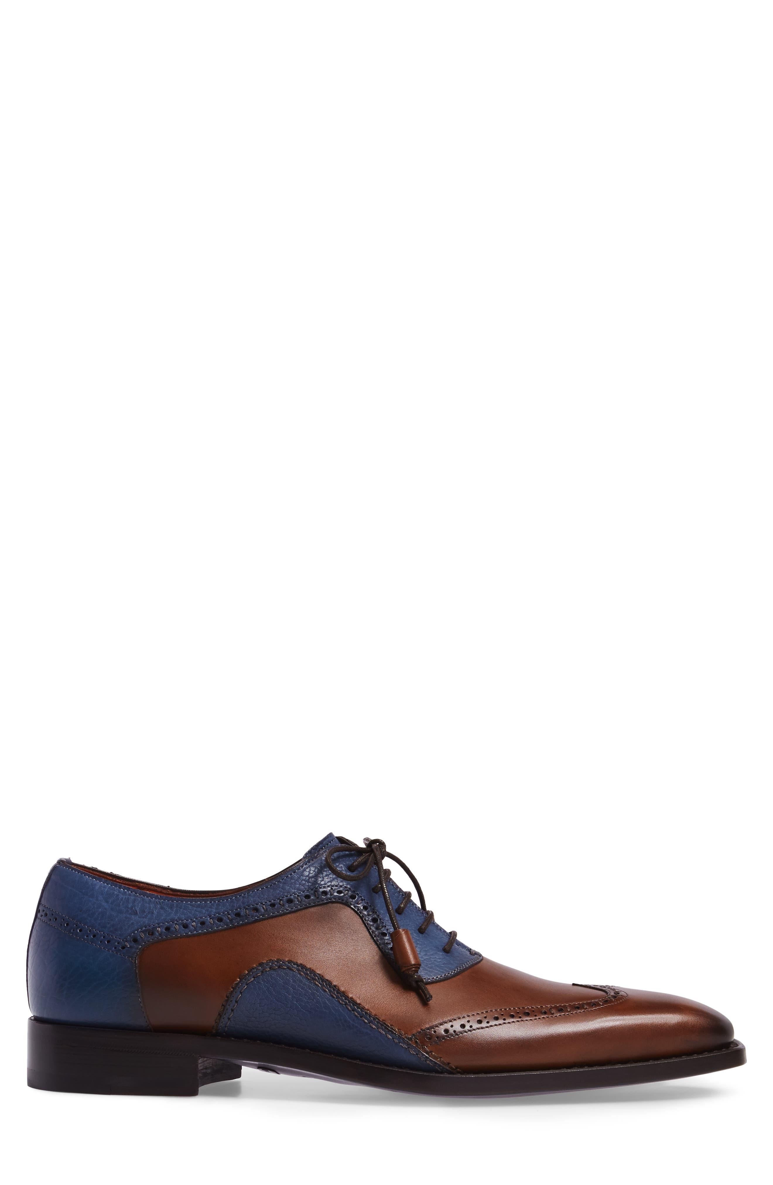 Conil Wingtip,                             Alternate thumbnail 3, color,                             Cognac/ Blue Leather