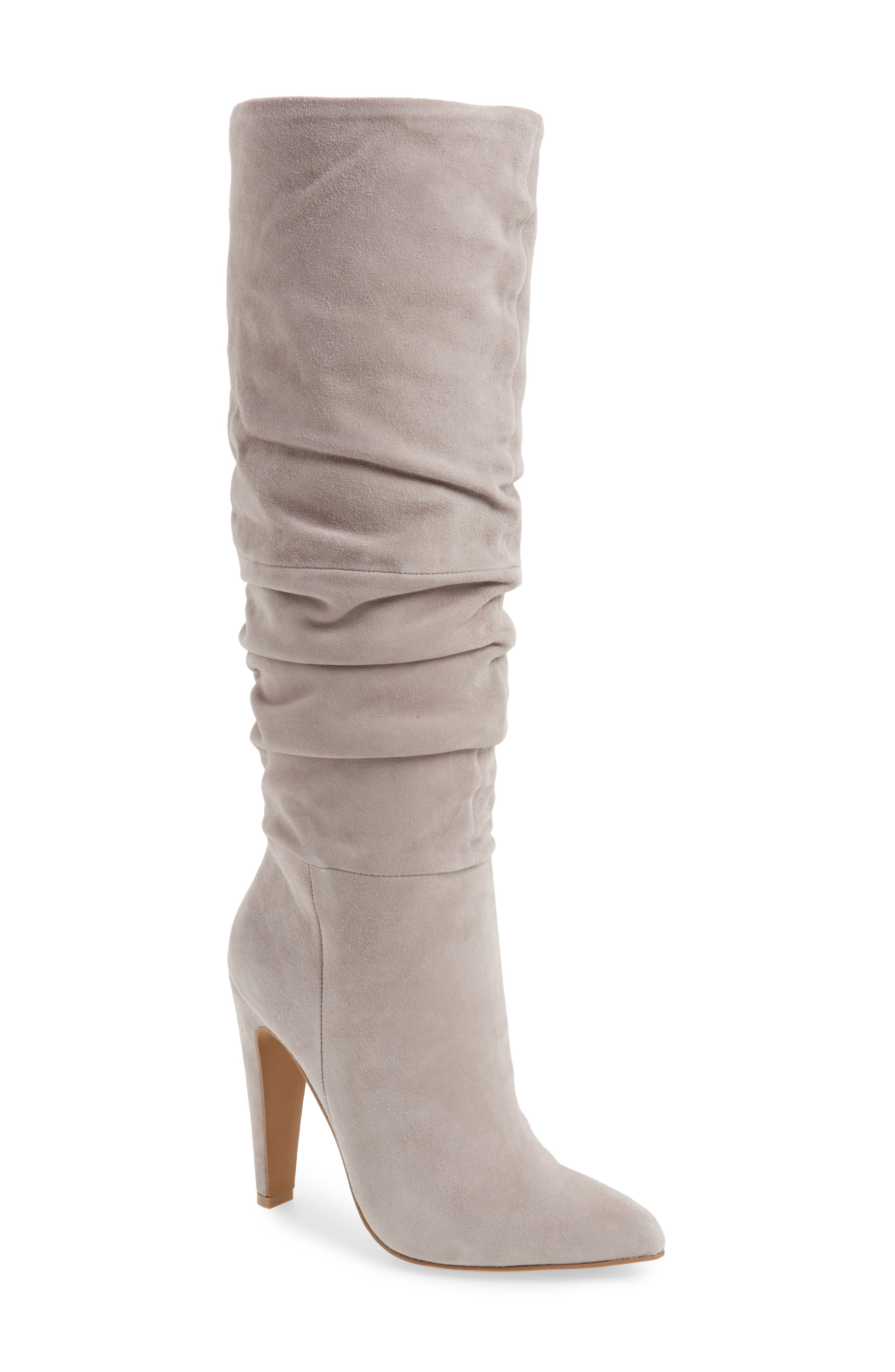 Carrie Slouchy Boot,                             Main thumbnail 1, color,                             Grey Suede