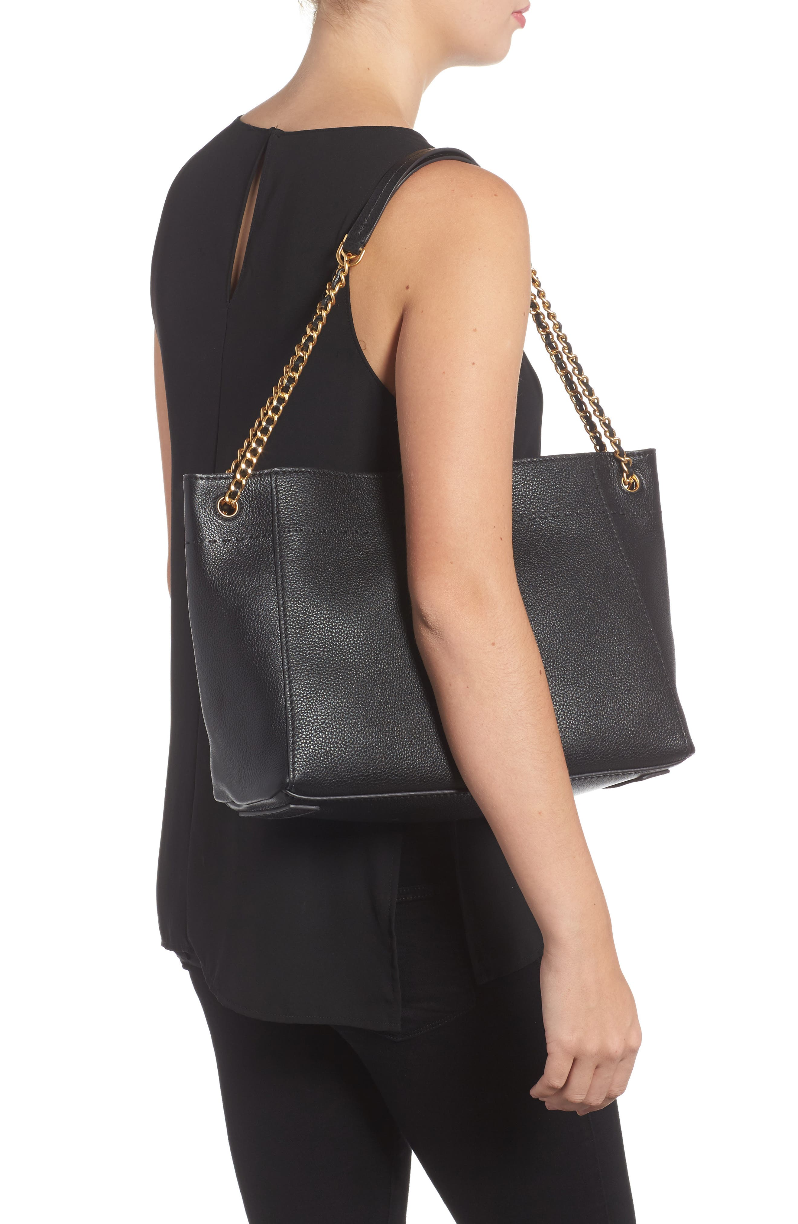 McGraw Slouchy Leather Shoulder Bag,                             Alternate thumbnail 2, color,                             Black