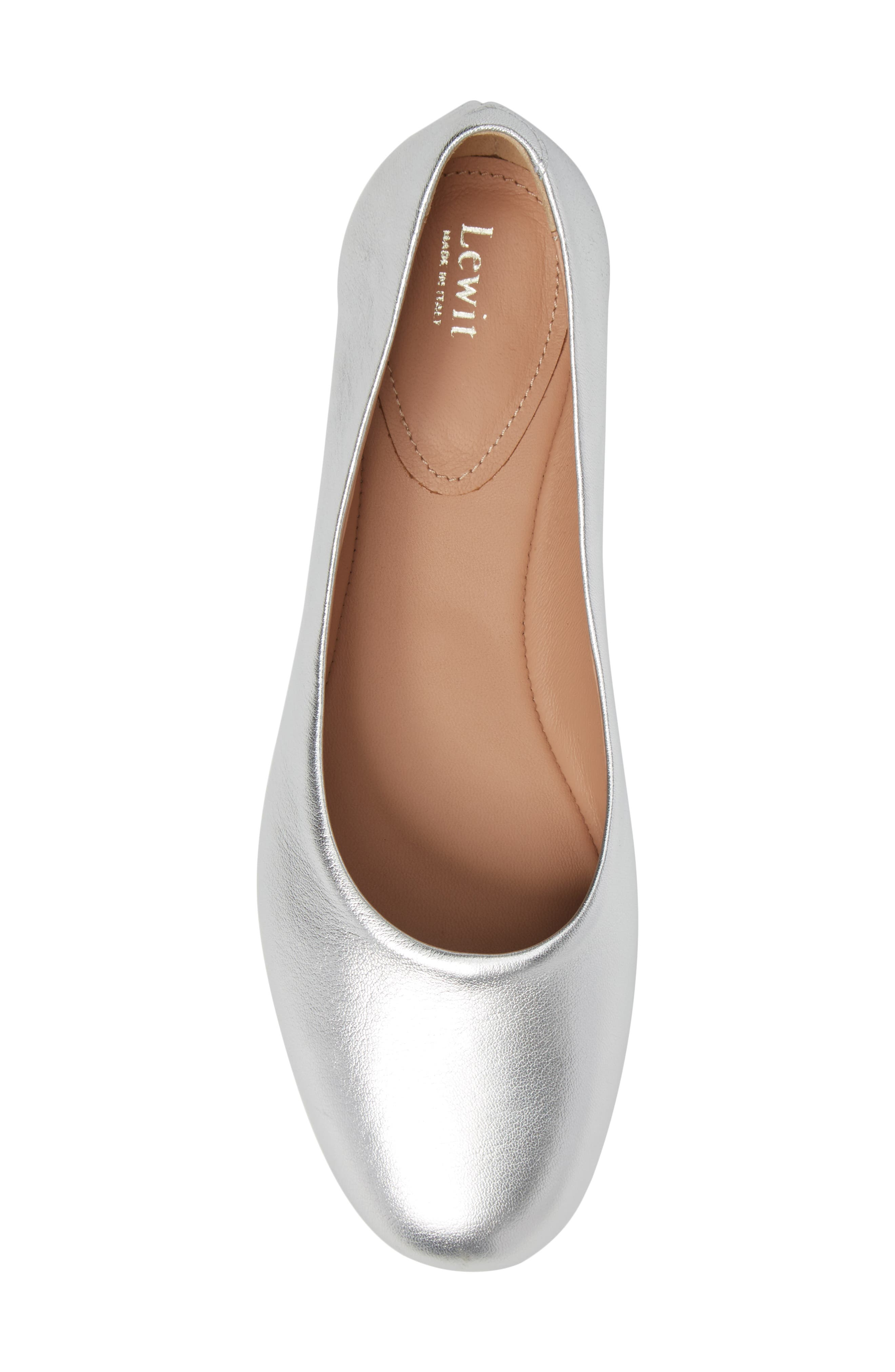 Gemma Ballerina Flat,                             Alternate thumbnail 5, color,                             Silver Leather
