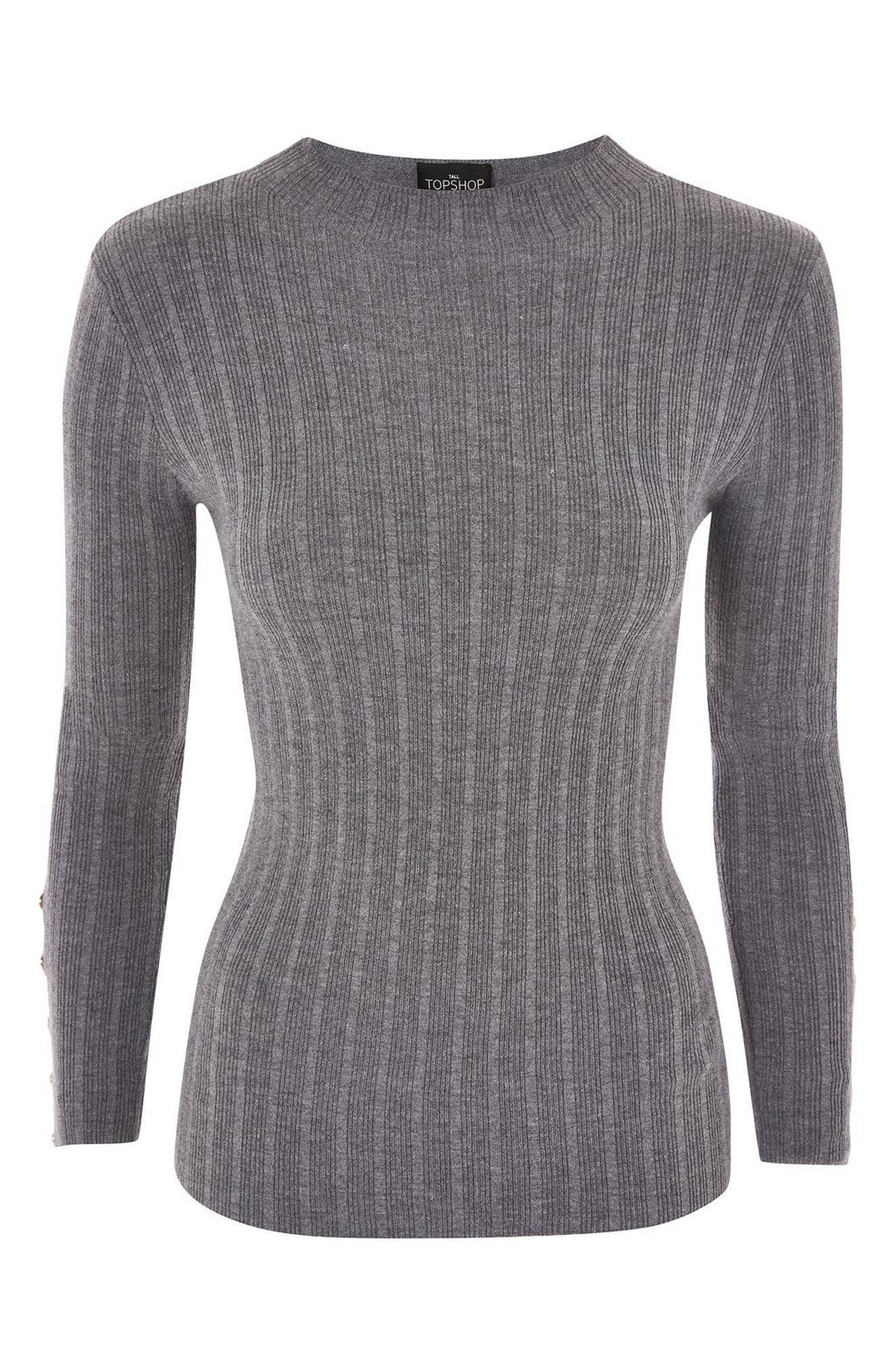 Alternate Image 4  - Topshop Snap Sleeve Ribbed Sweater