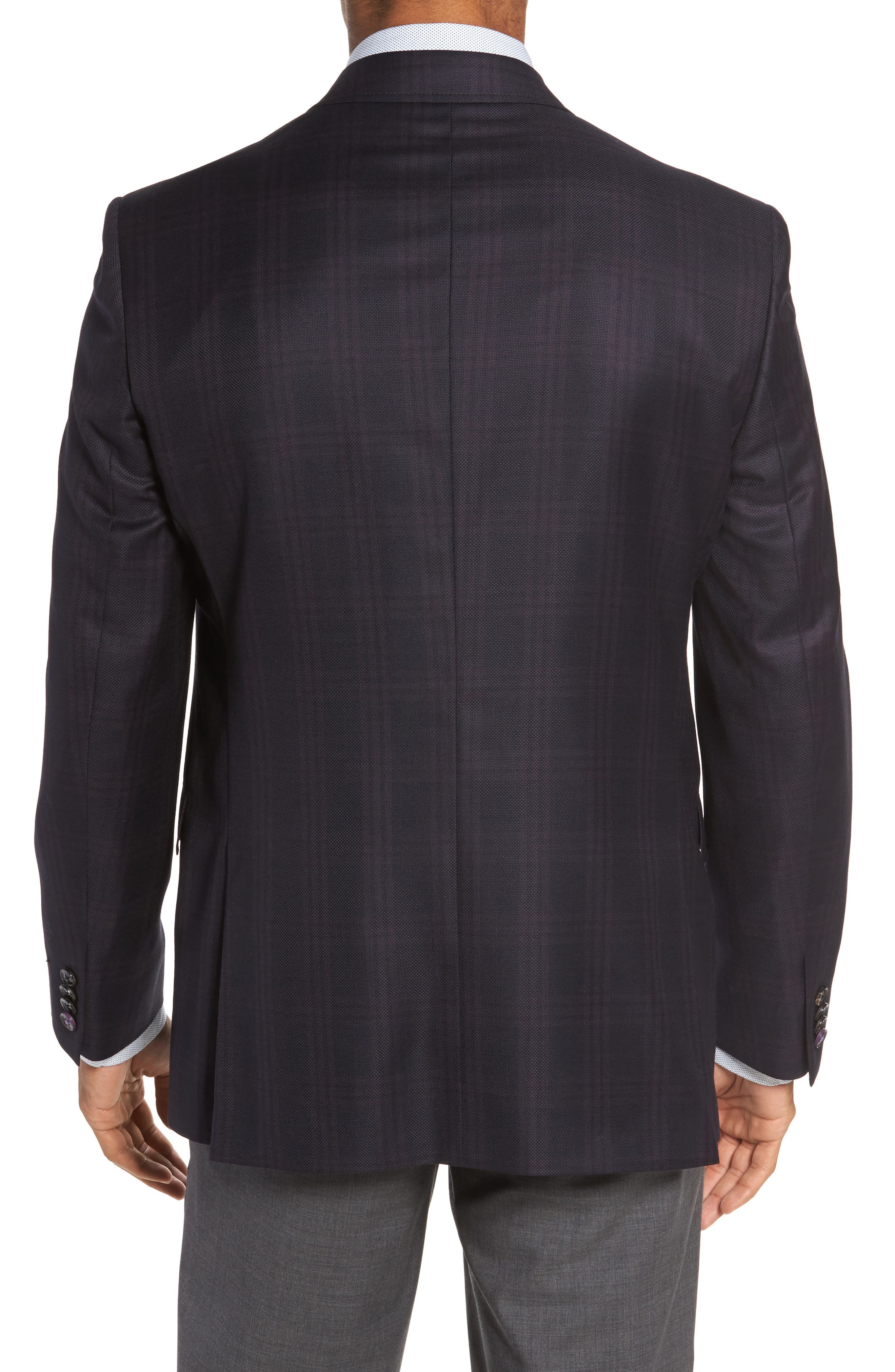 Jed Trim Fit Plaid Wool Sport Coat,                             Alternate thumbnail 2, color,                             Black