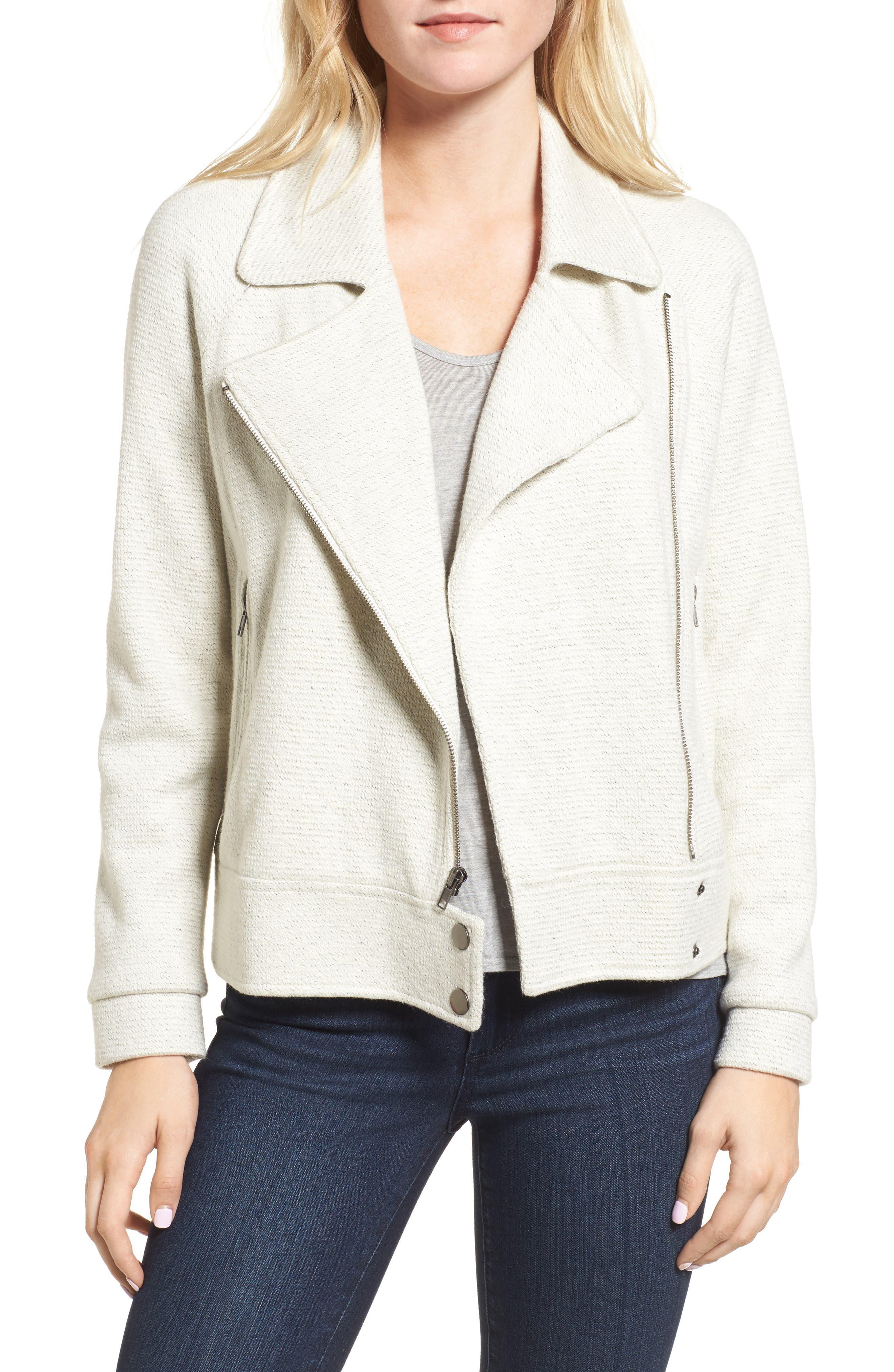 Cressida Moto Jacket,                         Main,                         color, Ivory