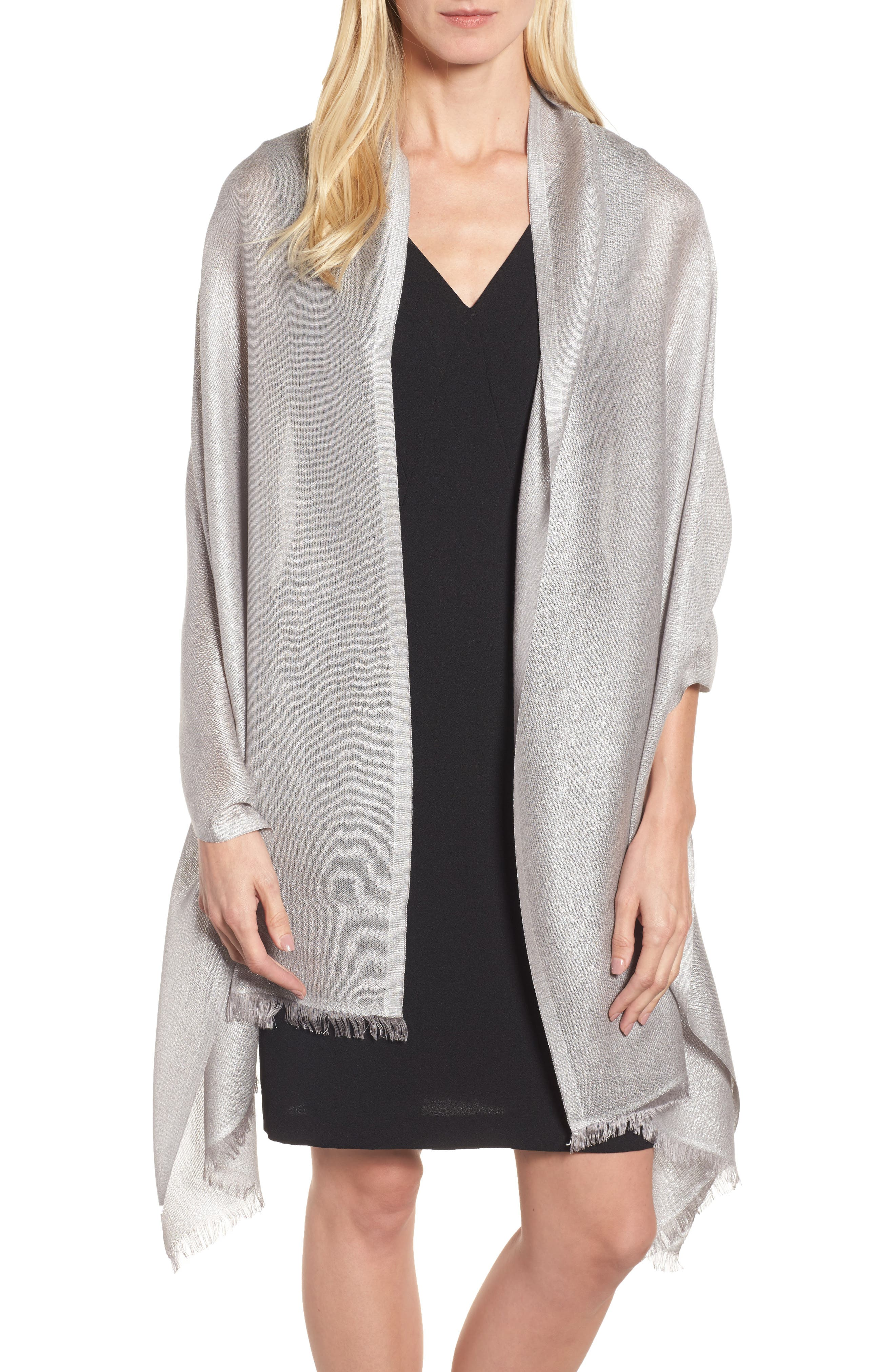 Metallic Lightweight Wrap,                         Main,                         color, Silver