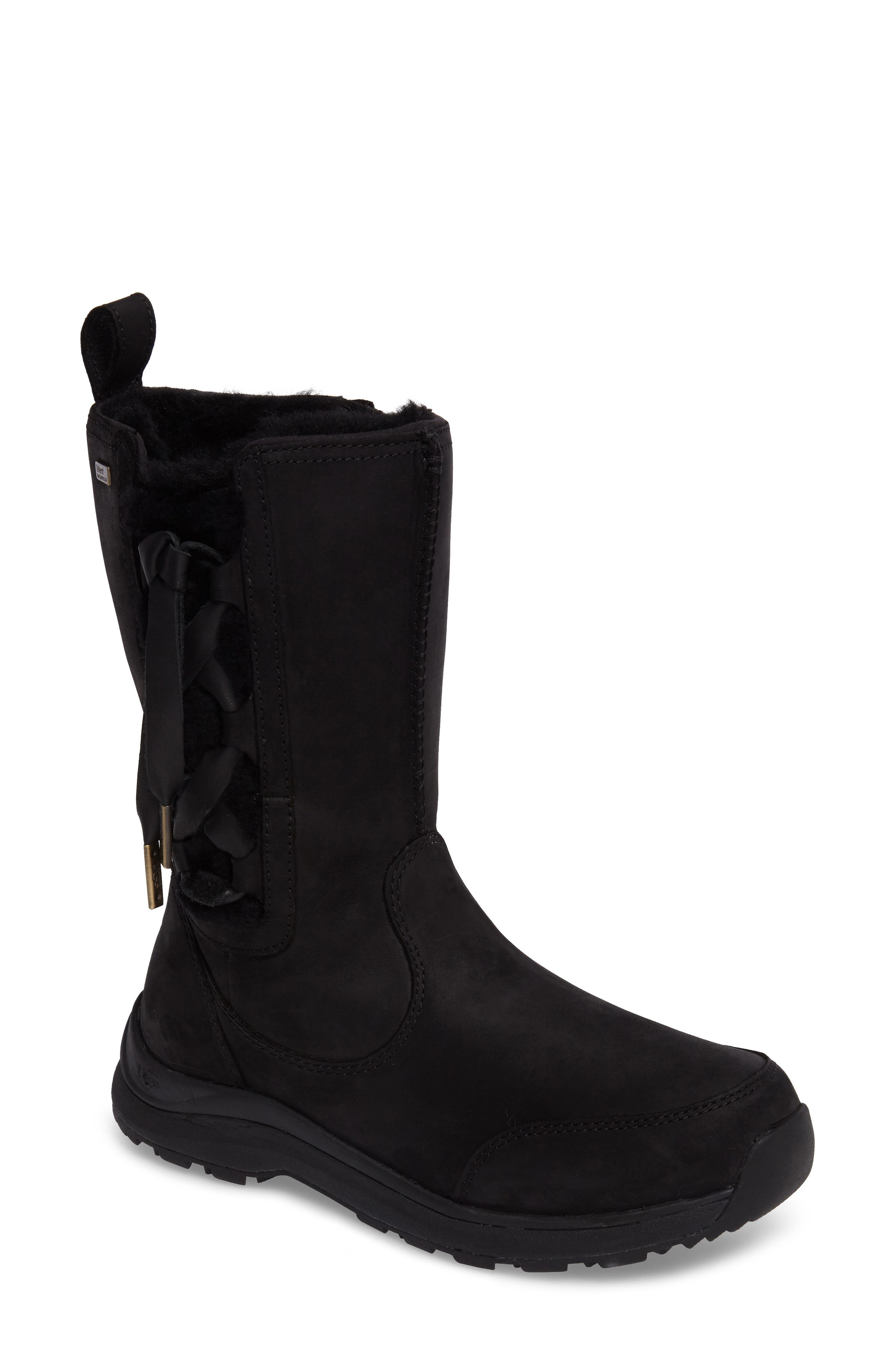 Suvi Waterproof Insulated Winter Boot,                         Main,                         color, Black Leather