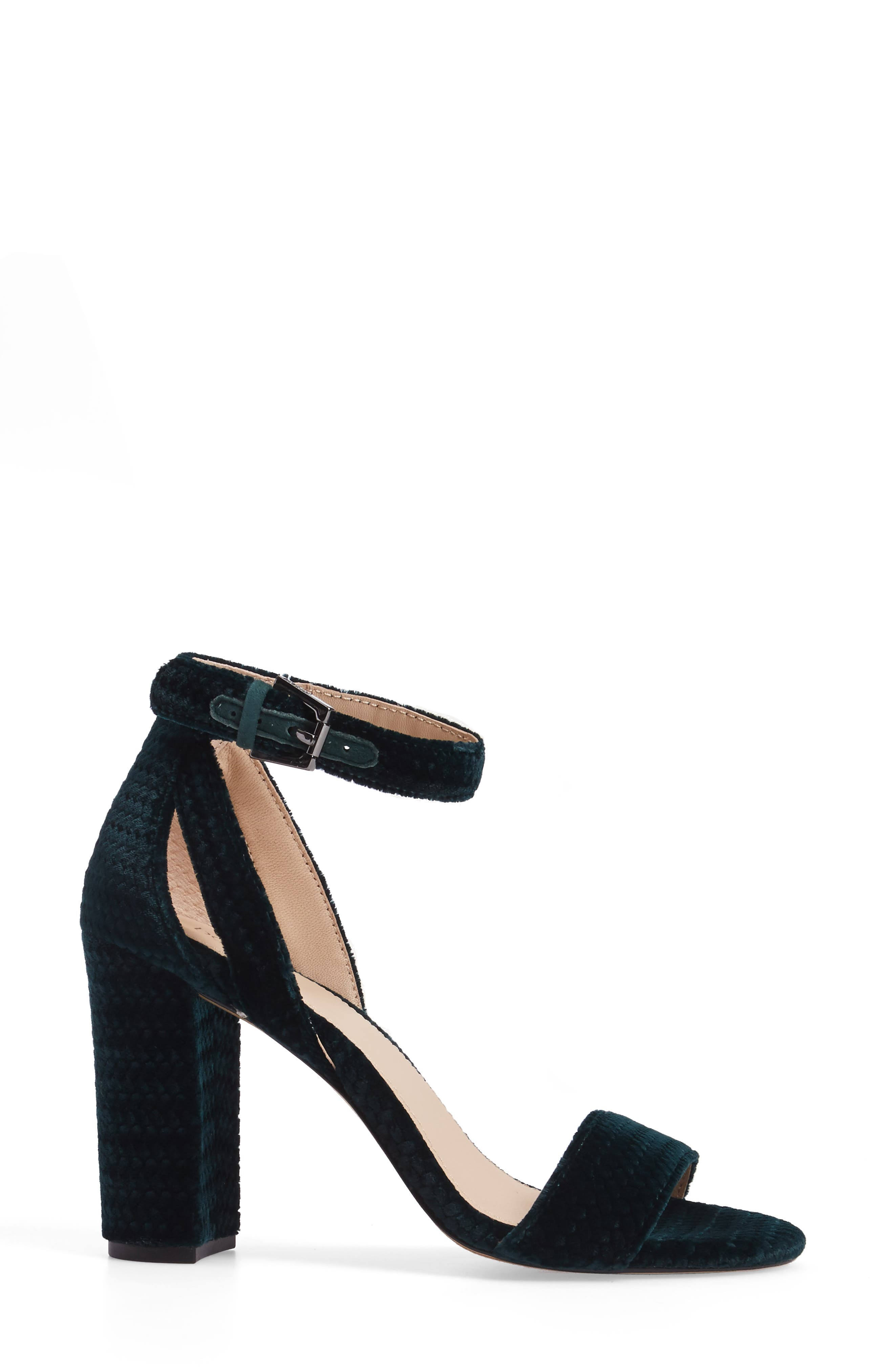 Gianna Ankle Strap Sandal,                             Alternate thumbnail 3, color,                             Emerald Velvet