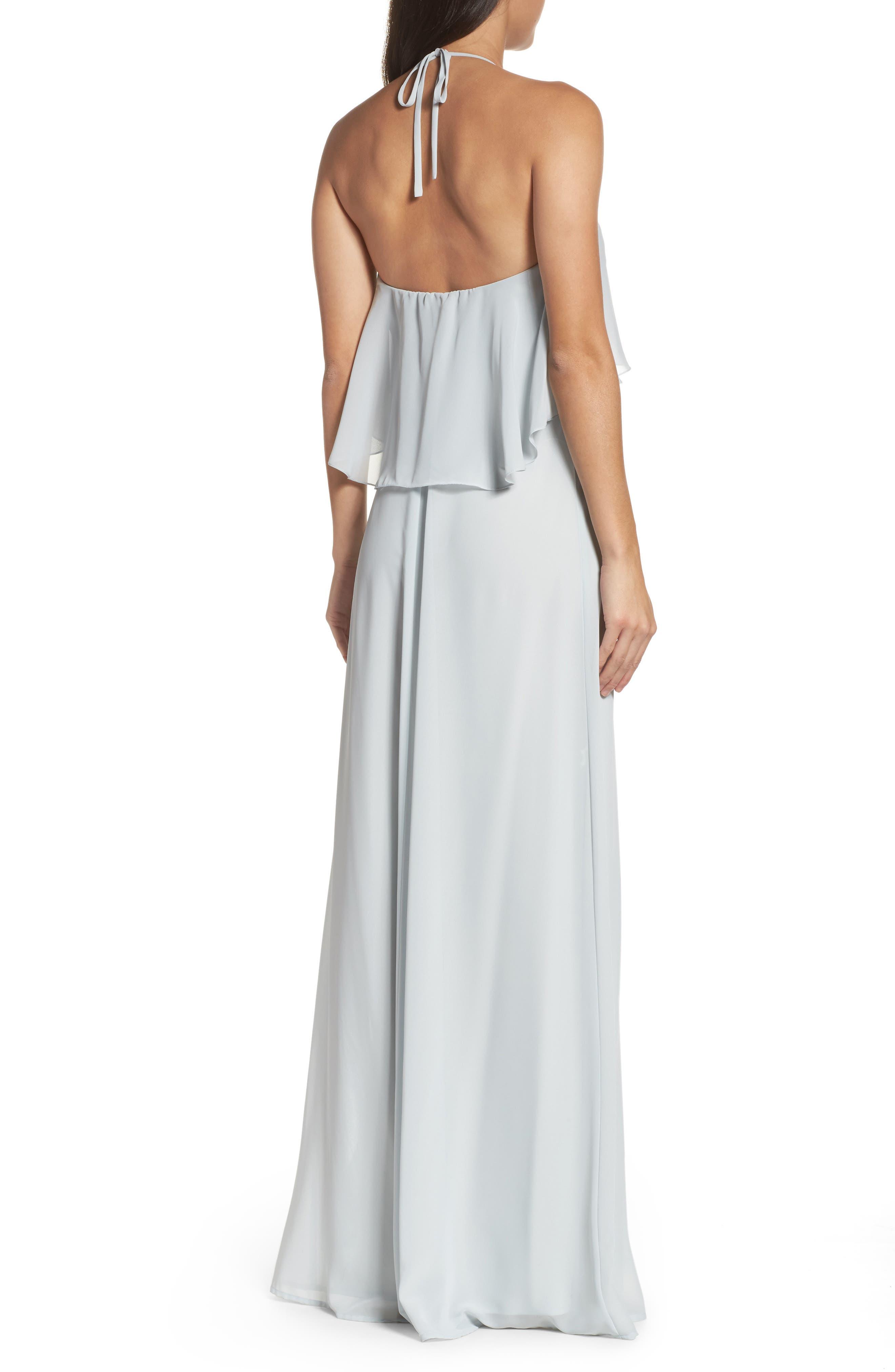 Alternate Image 2  - nouvelle AMSALE 'Cait' Chiffon Halter Gown