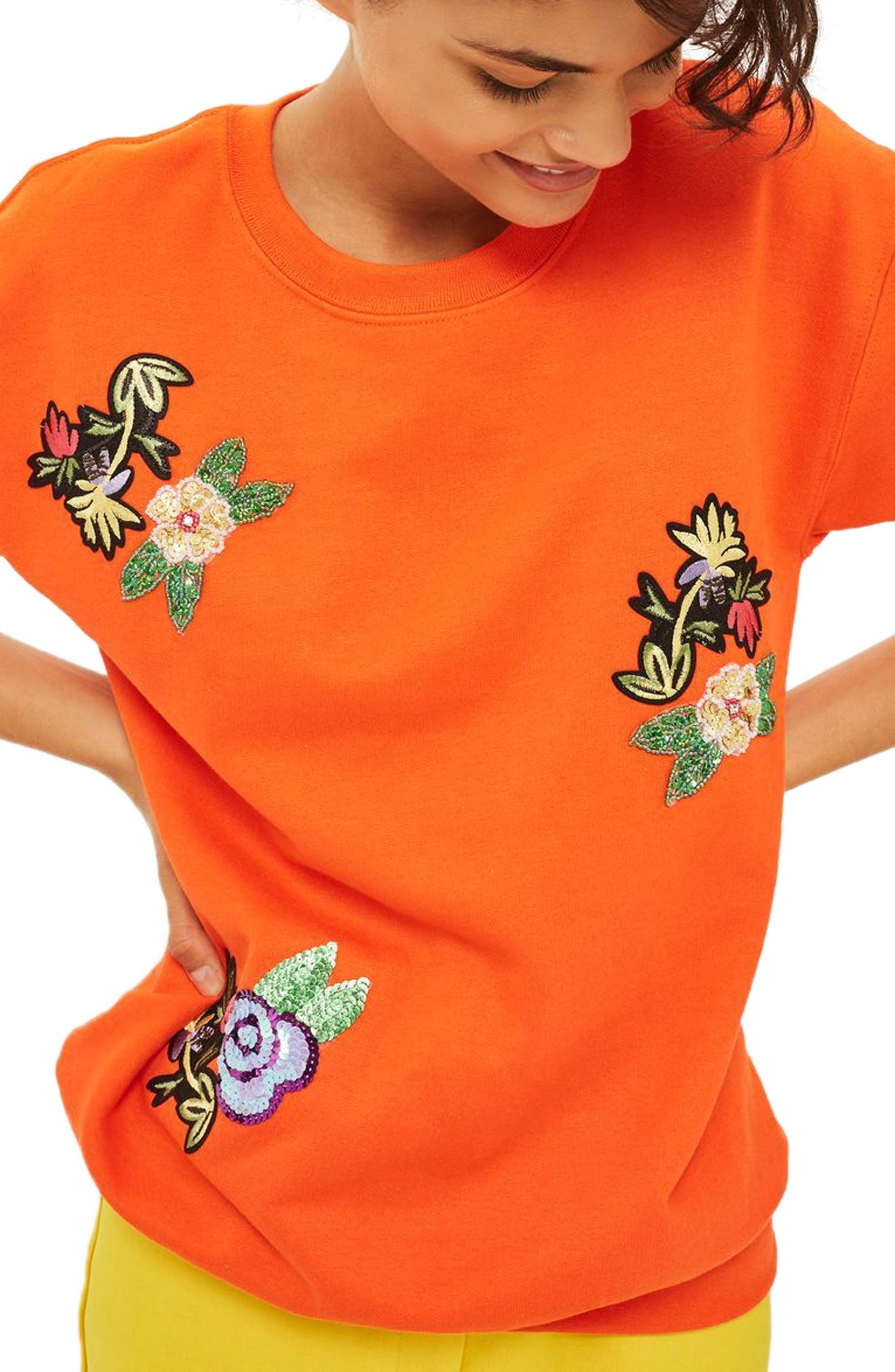 Floral Appliqué Embroidered Sweatshirt,                             Main thumbnail 1, color,                             Orange Multi