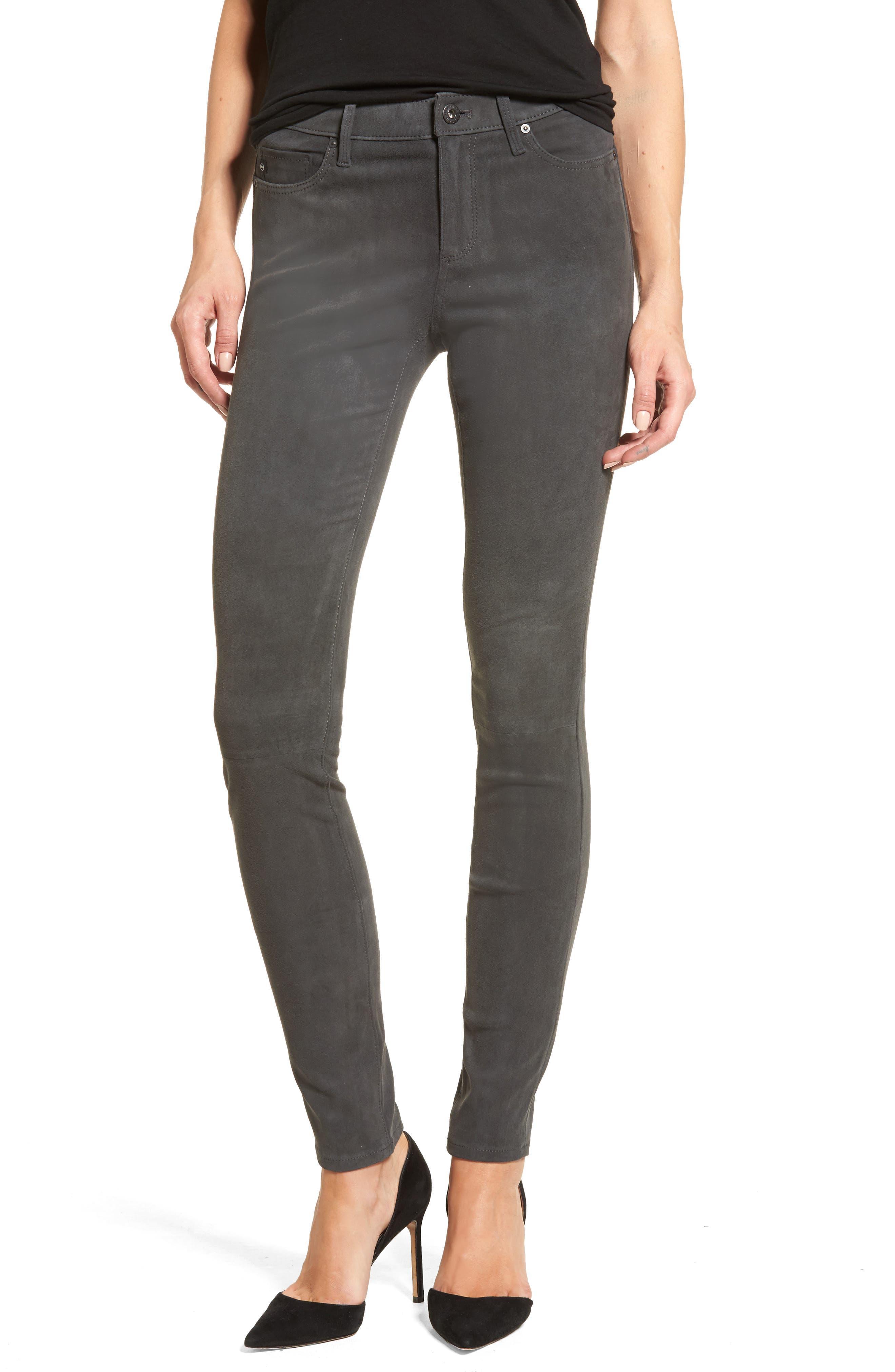 The Legging Super Skinny Suede Pants,                             Main thumbnail 1, color,                             Dark Slate