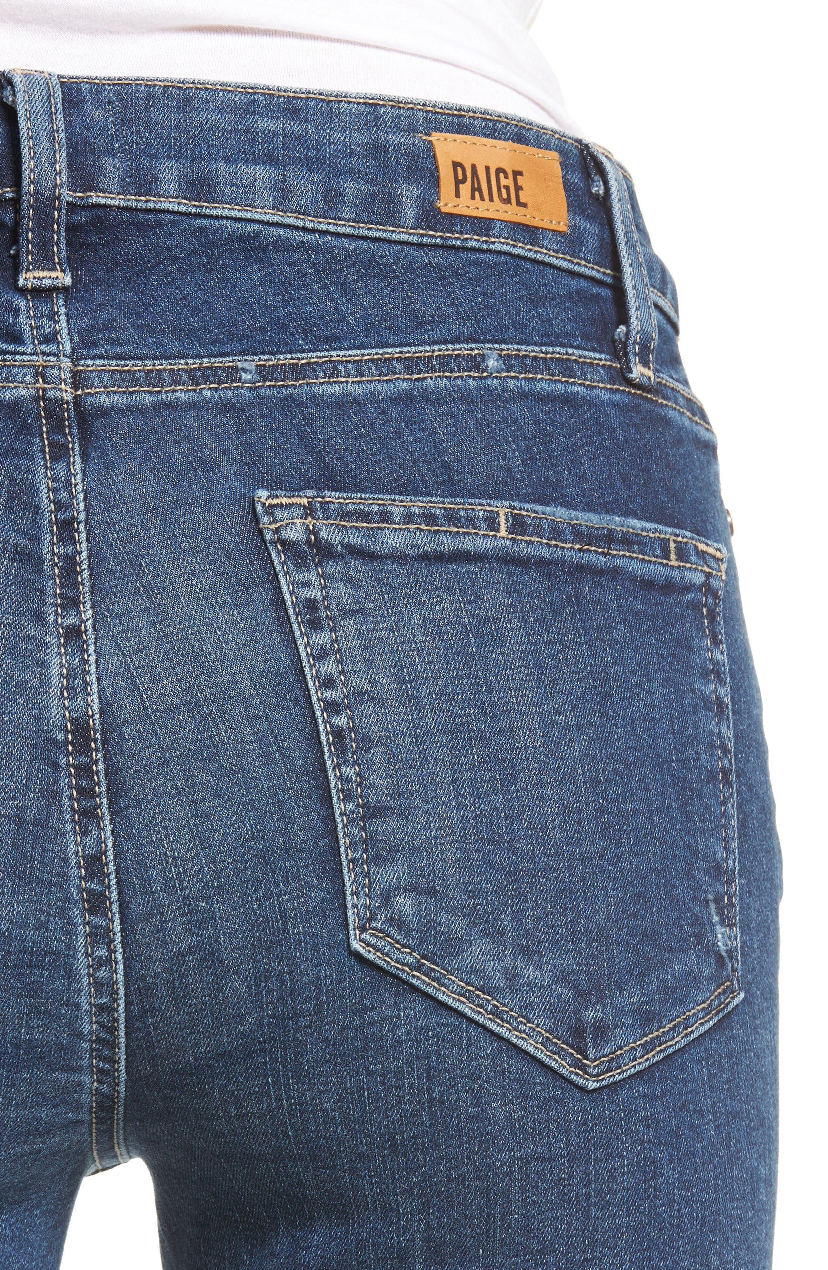 Transcend Vintage - Hoxton High Waist Ankle Peg Jeans,                             Alternate thumbnail 6, color,                             Riviera