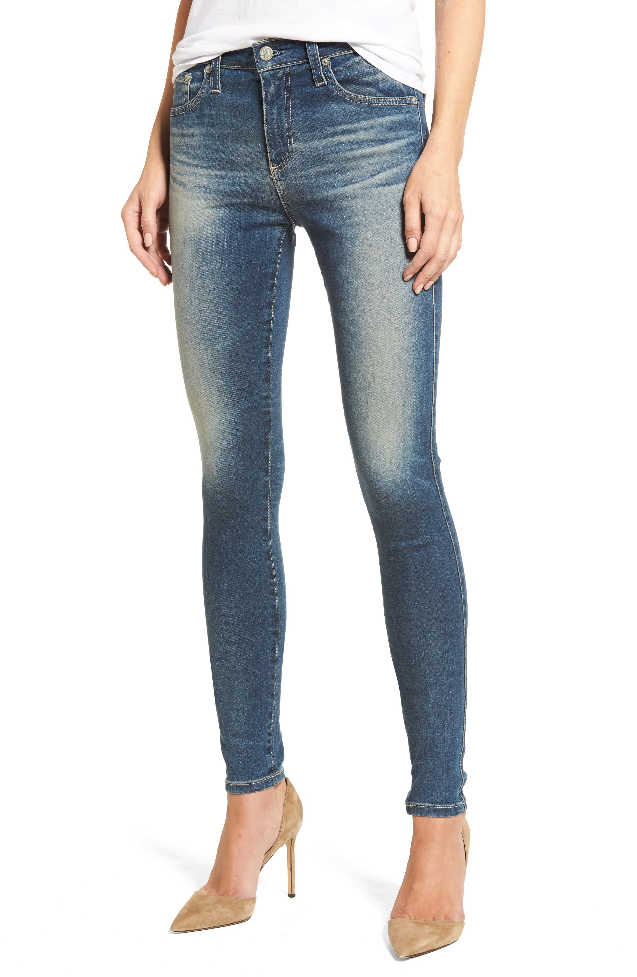Main Image - AG 'The Farrah' High Rise Skinny Jeans