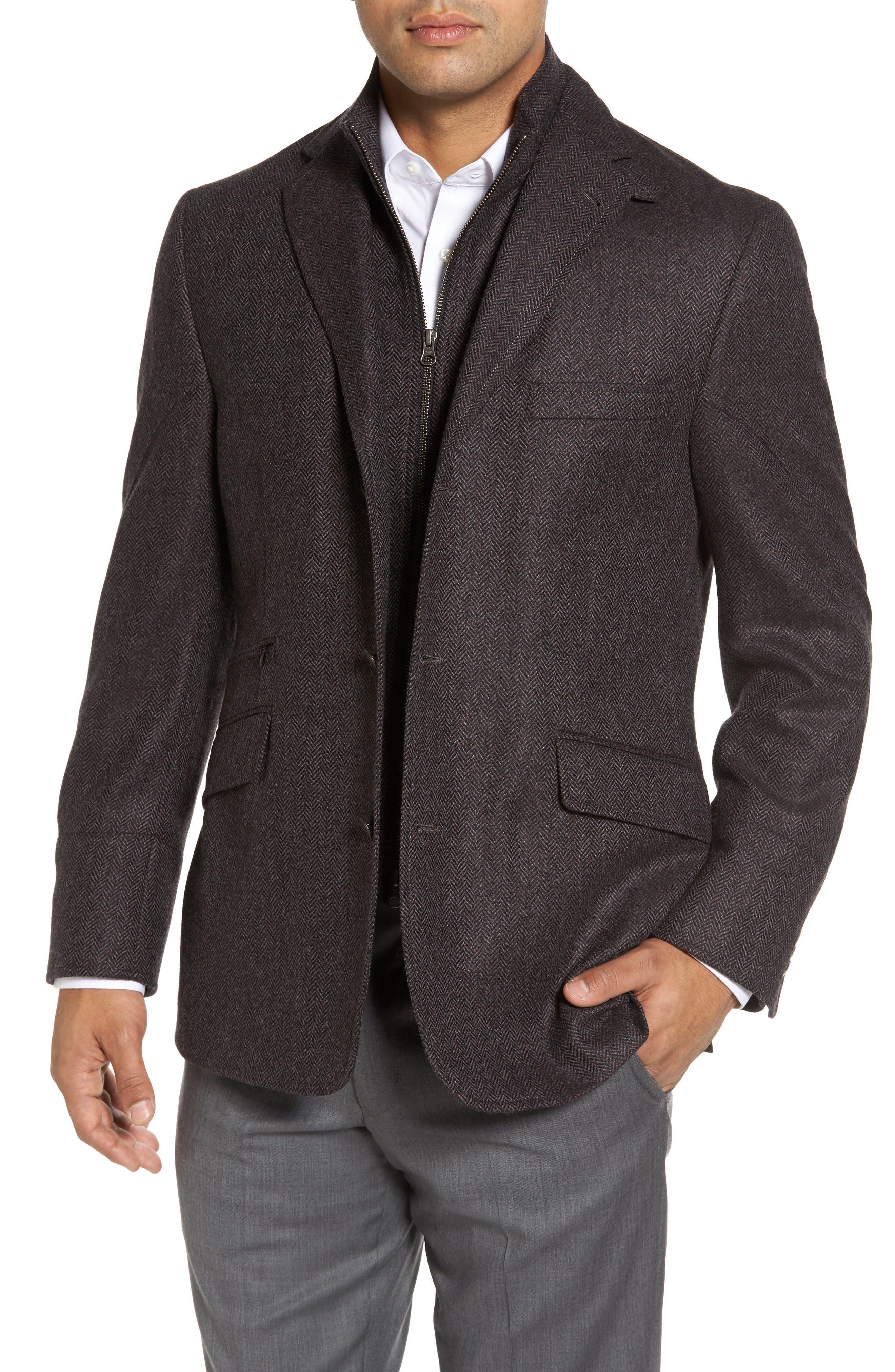 Ritchie Hybrid Classic Fit Wool & Cashmere Herringbone Sport Coat,                         Main,                         color, Grey