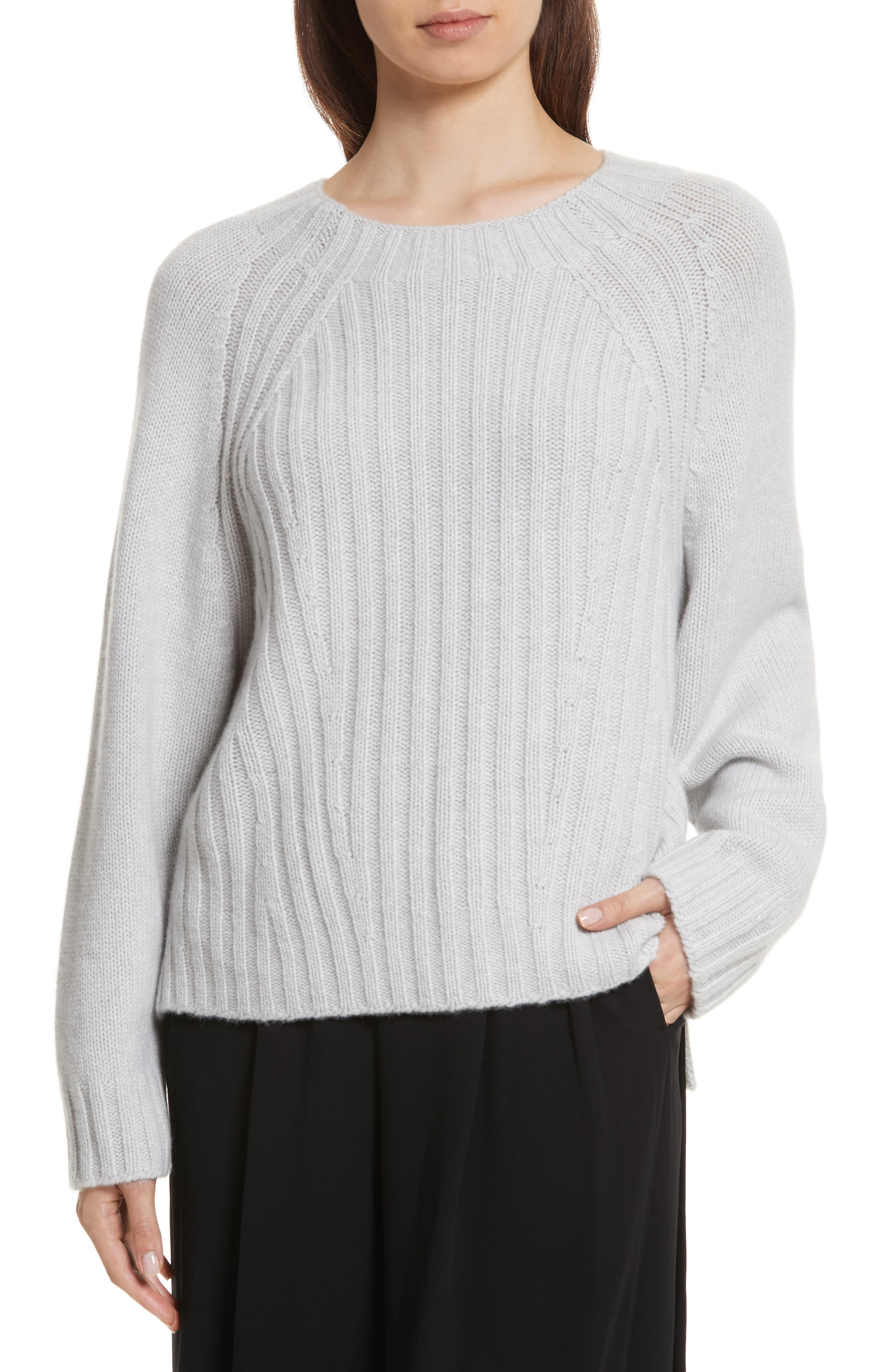Ribbed Wool & Cashmere Sweater,                             Main thumbnail 1, color,                             Light Heather Grey