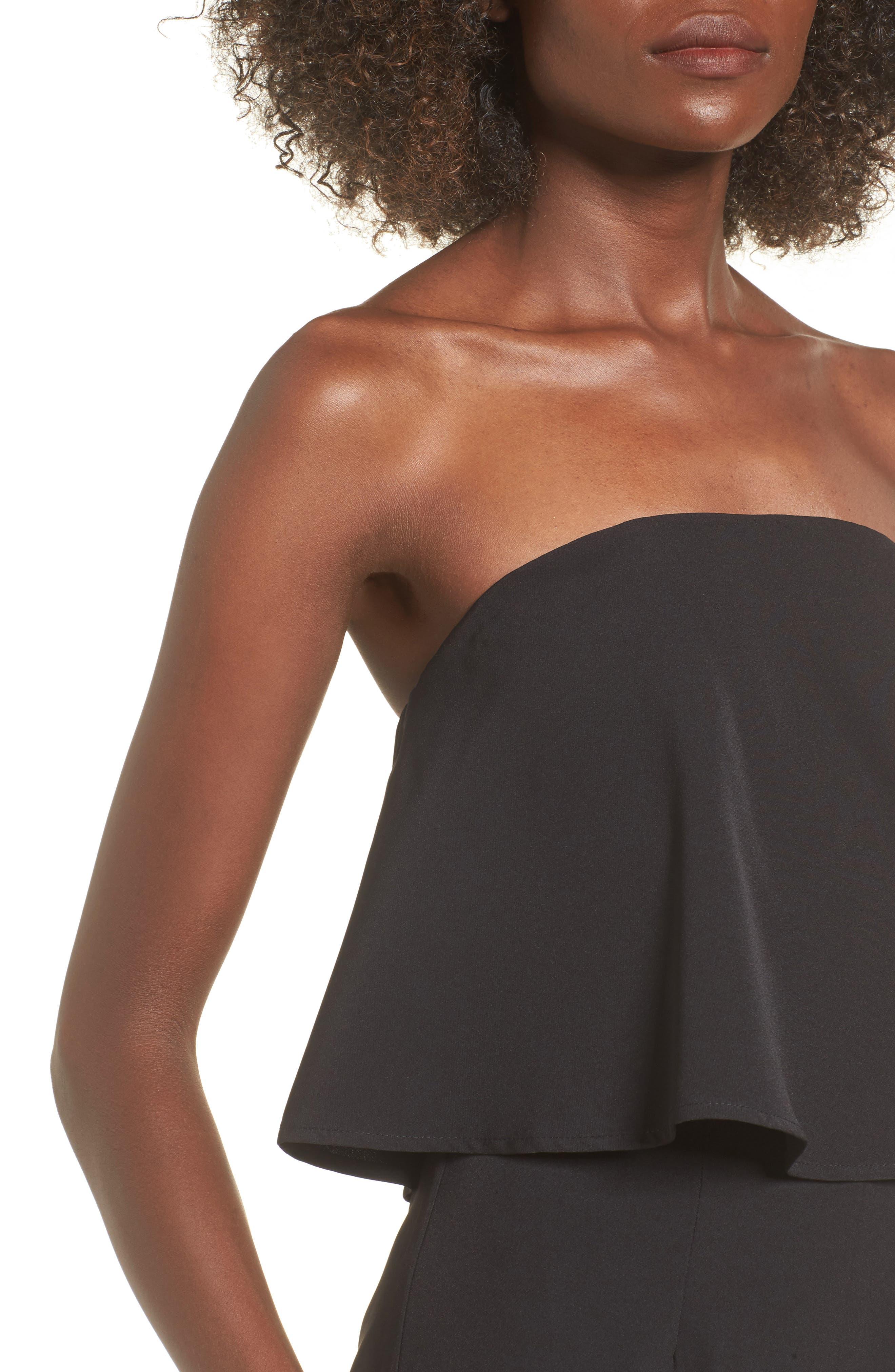 Popover Strapless Jumpsuit,                             Alternate thumbnail 4, color,                             Black