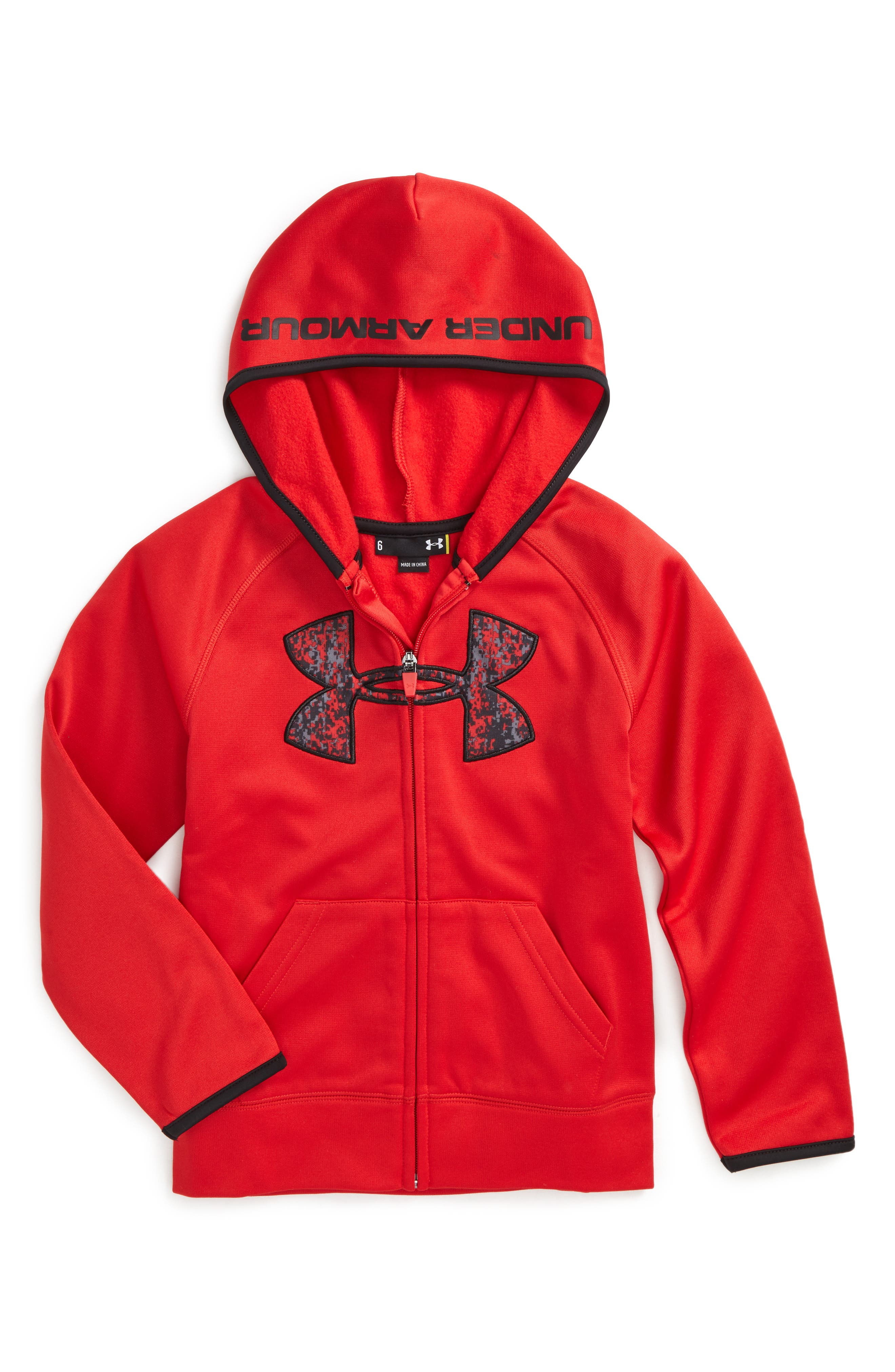 Alternate Image 1 Selected - Under Armour Geo Cache Big Logo Hoodie (Toddler Boys & Little Boys)