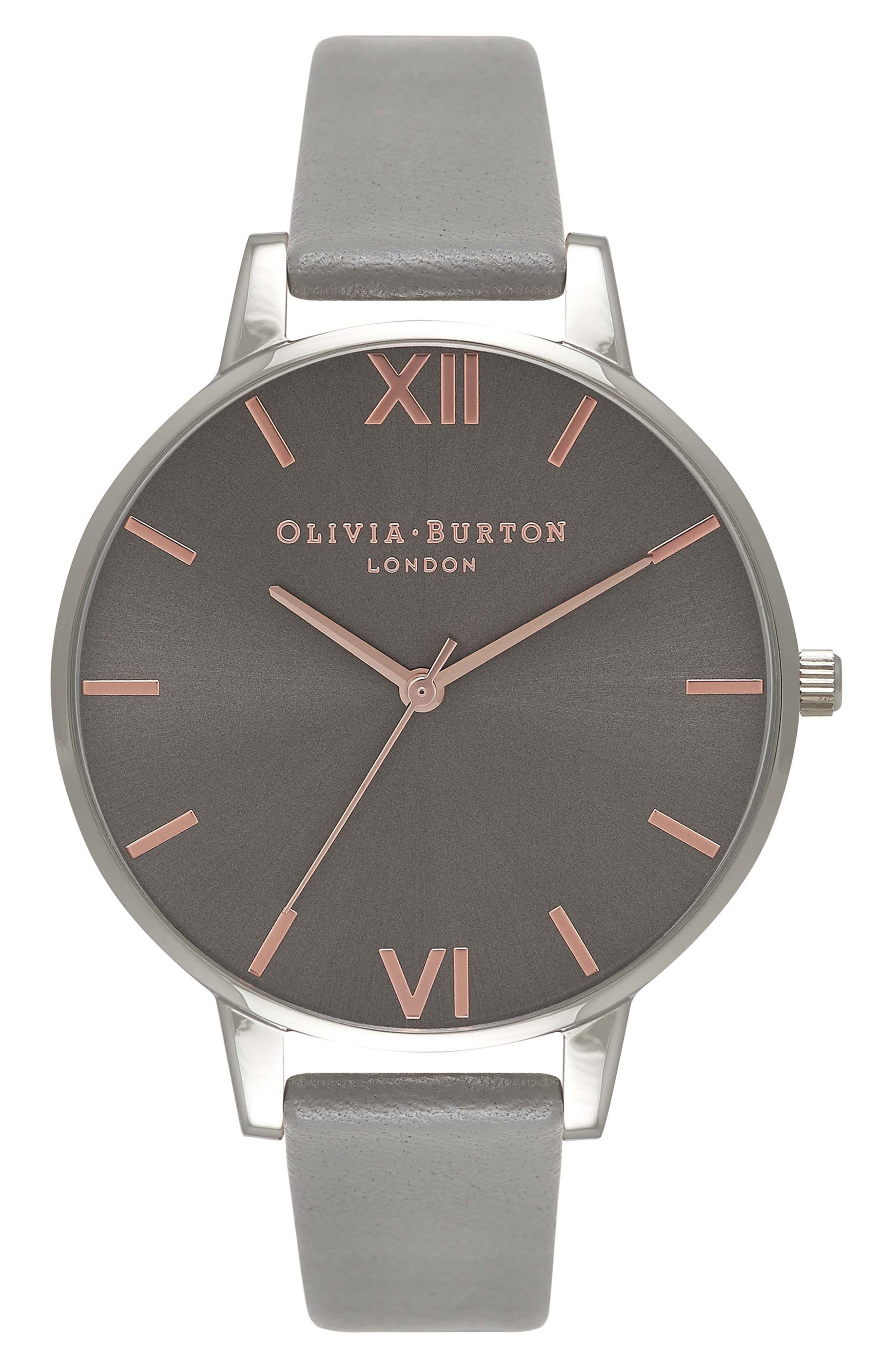 Big Dial Leather Strap Watch, 38mm,                         Main,                         color, Grey/ Silver/ Rose Gold