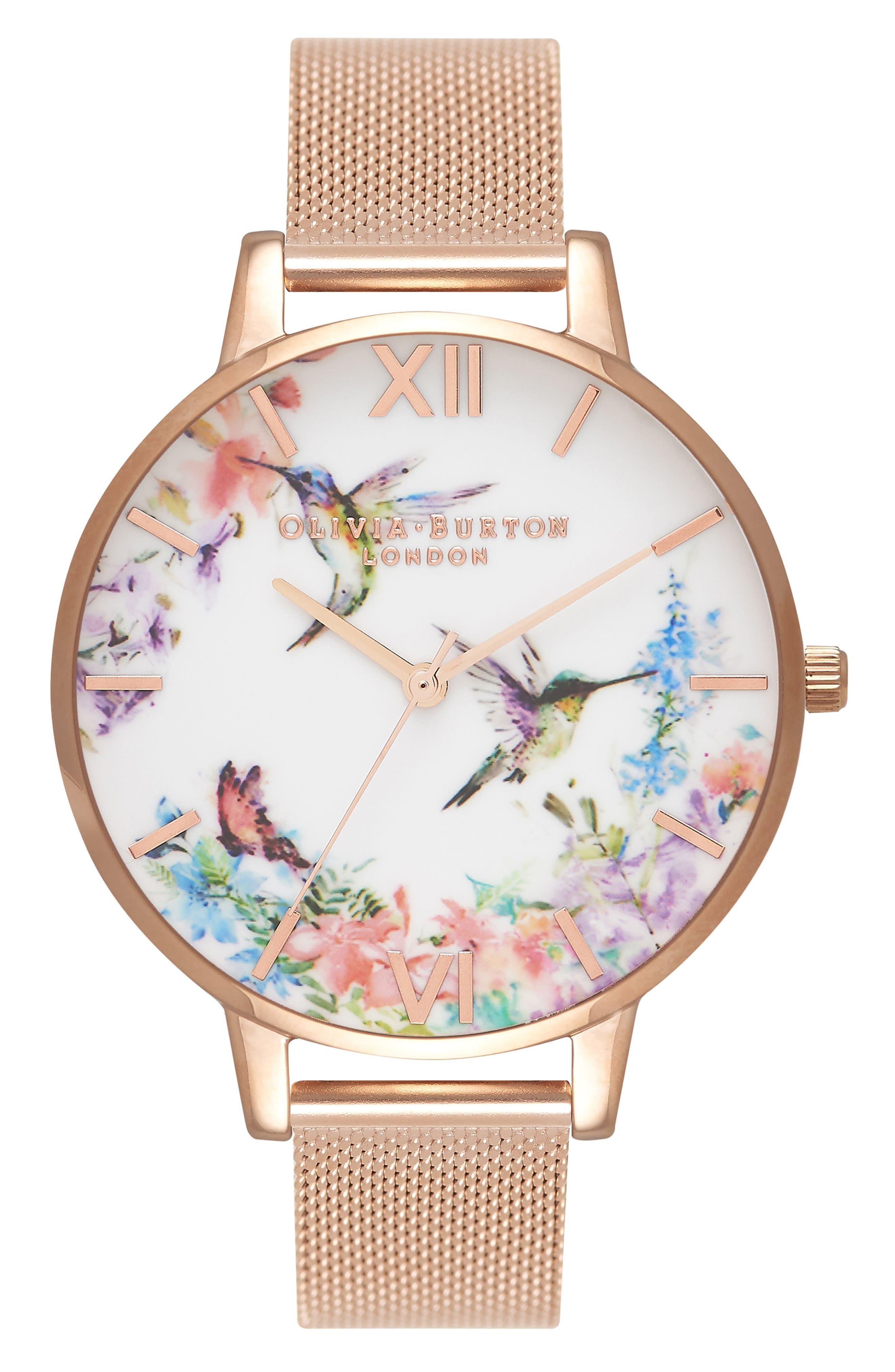 Olivia Burton Painterly Mesh Strap Watch, 38mm