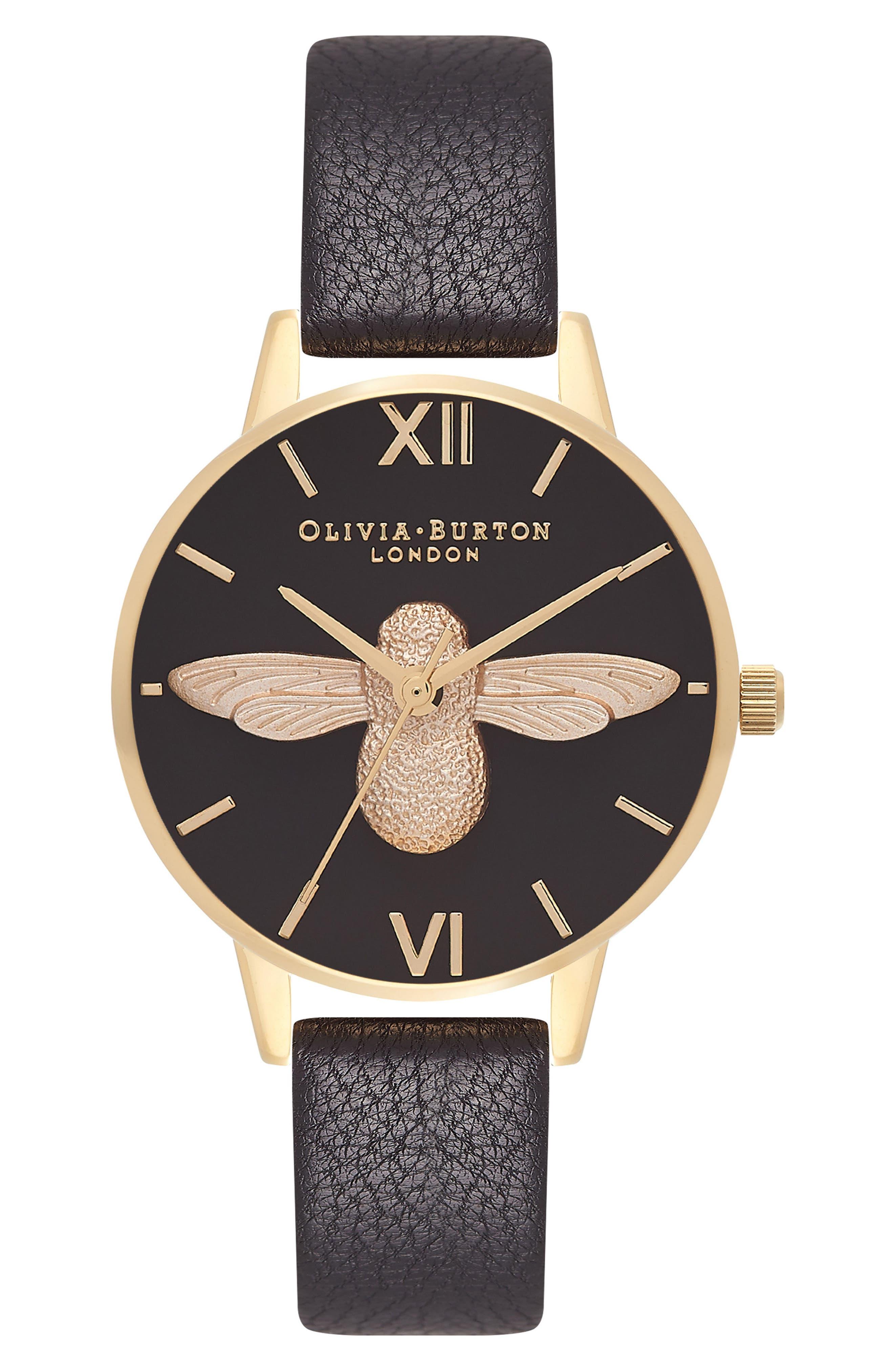 Animal Motif Leather Strap Watch, 30mm,                         Main,                         color, Black/ Black/ Gold