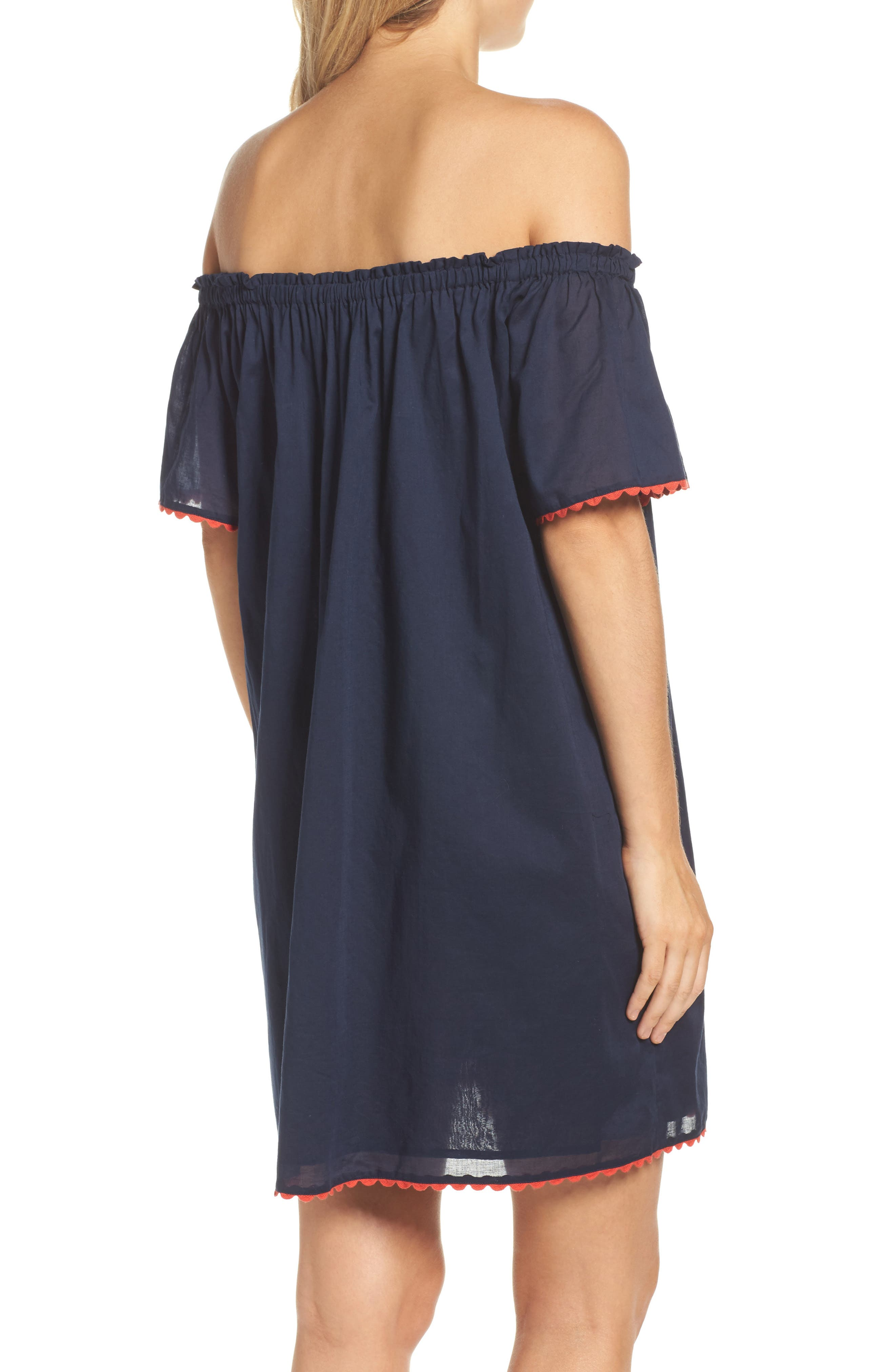Wildflower Embroidered Off the Shoulder Cover-Up Dress,                             Alternate thumbnail 2, color,                             Tory Navy
