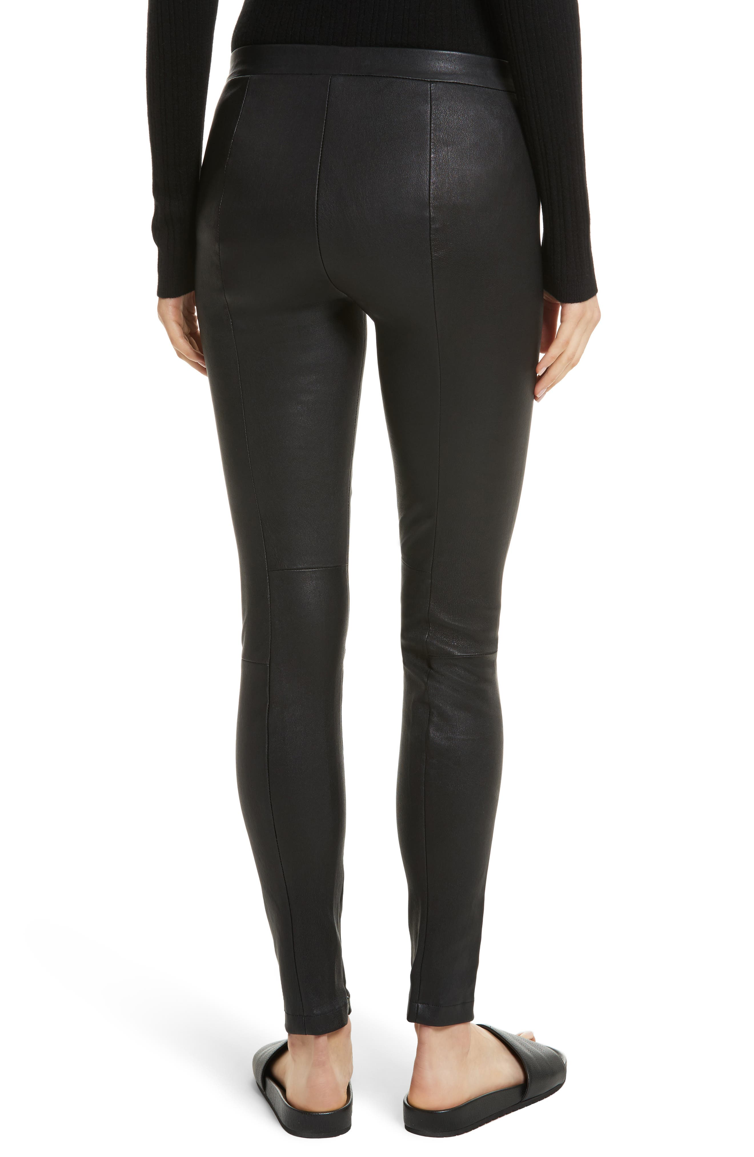 Zip Ankle Leather Leggings,                             Alternate thumbnail 2, color,                             Black