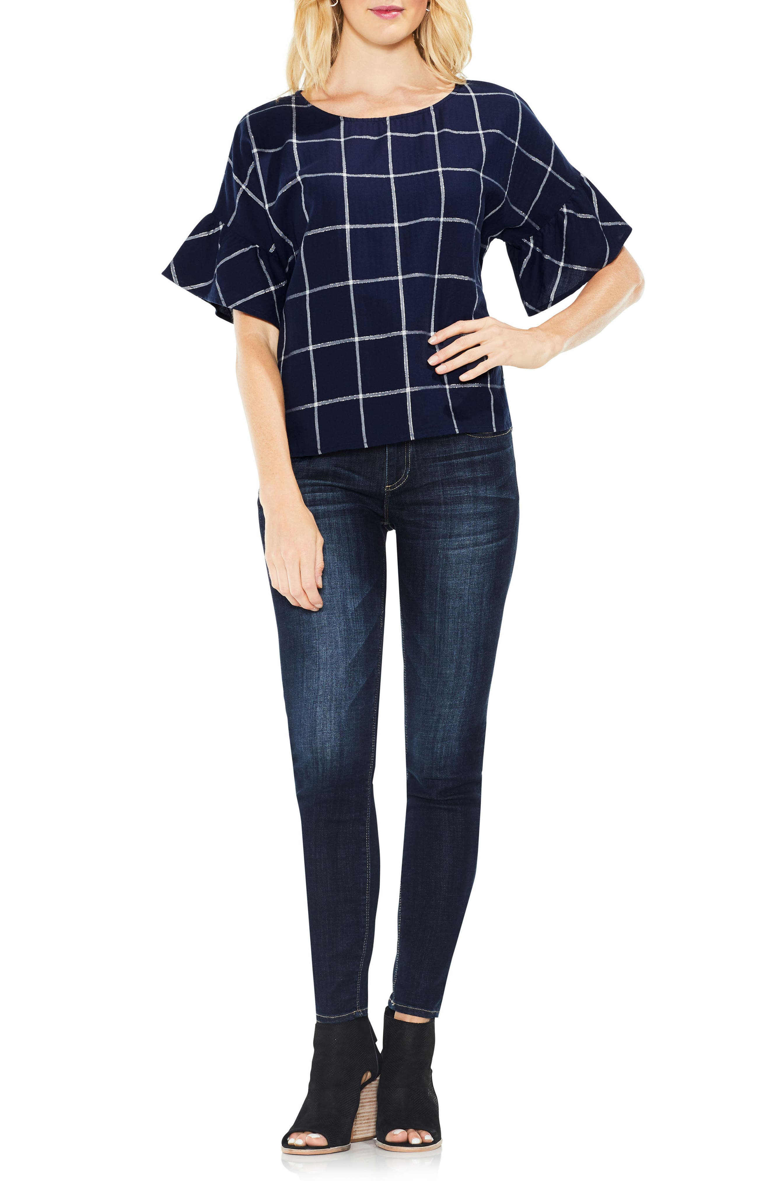 Alternate Image 3  - Two by Vince Camuto Ruffle Sleeve Windowpane Top