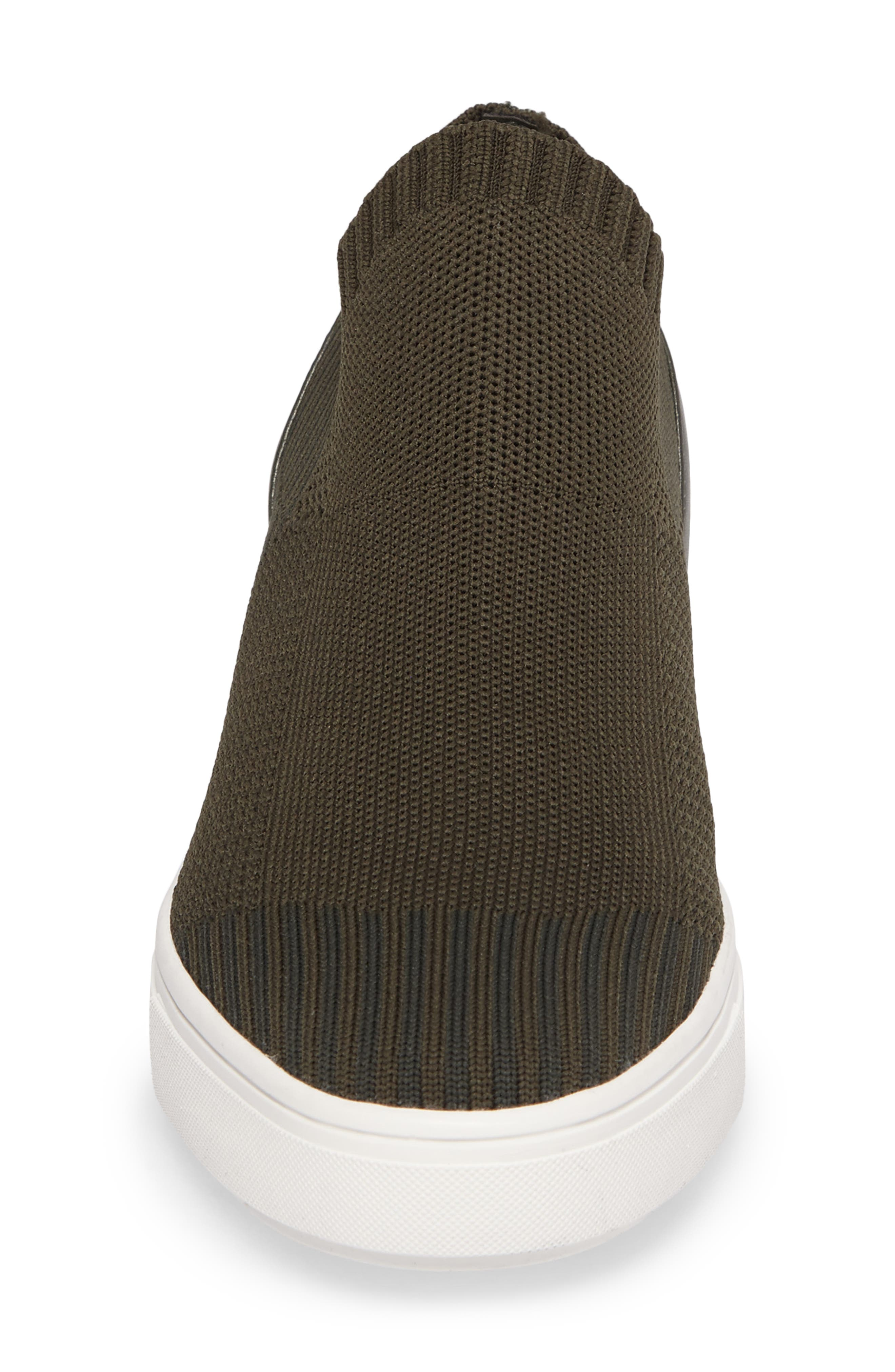 Sly Hidden Wedge Knit Sneaker,                             Alternate thumbnail 5, color,                             Olive Fabric