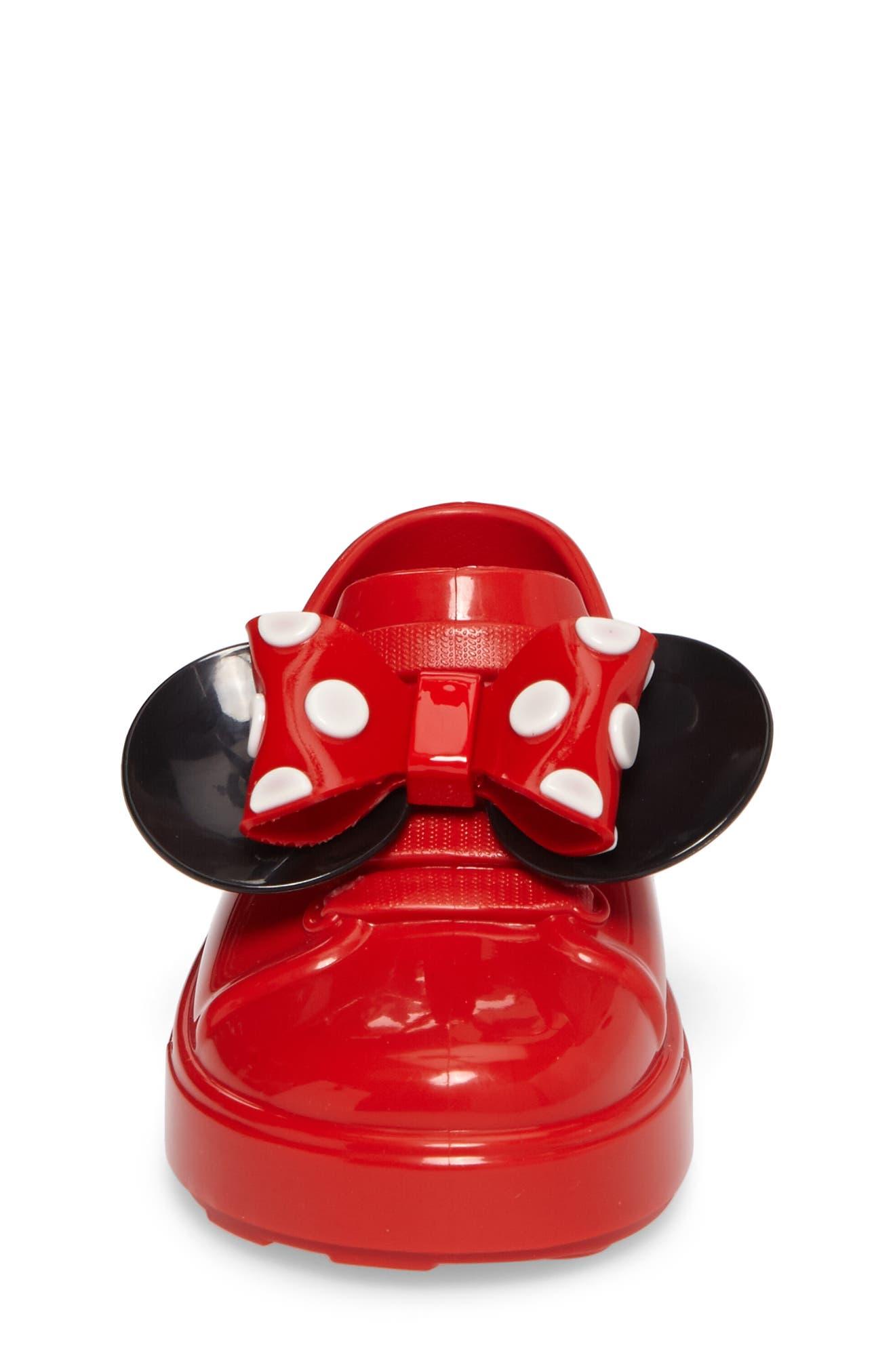 Mini Melissa Disney<sup>®</sup> Be Minnie Slip-On Sneaker,                             Alternate thumbnail 4, color,                             Black/ Bordeaux