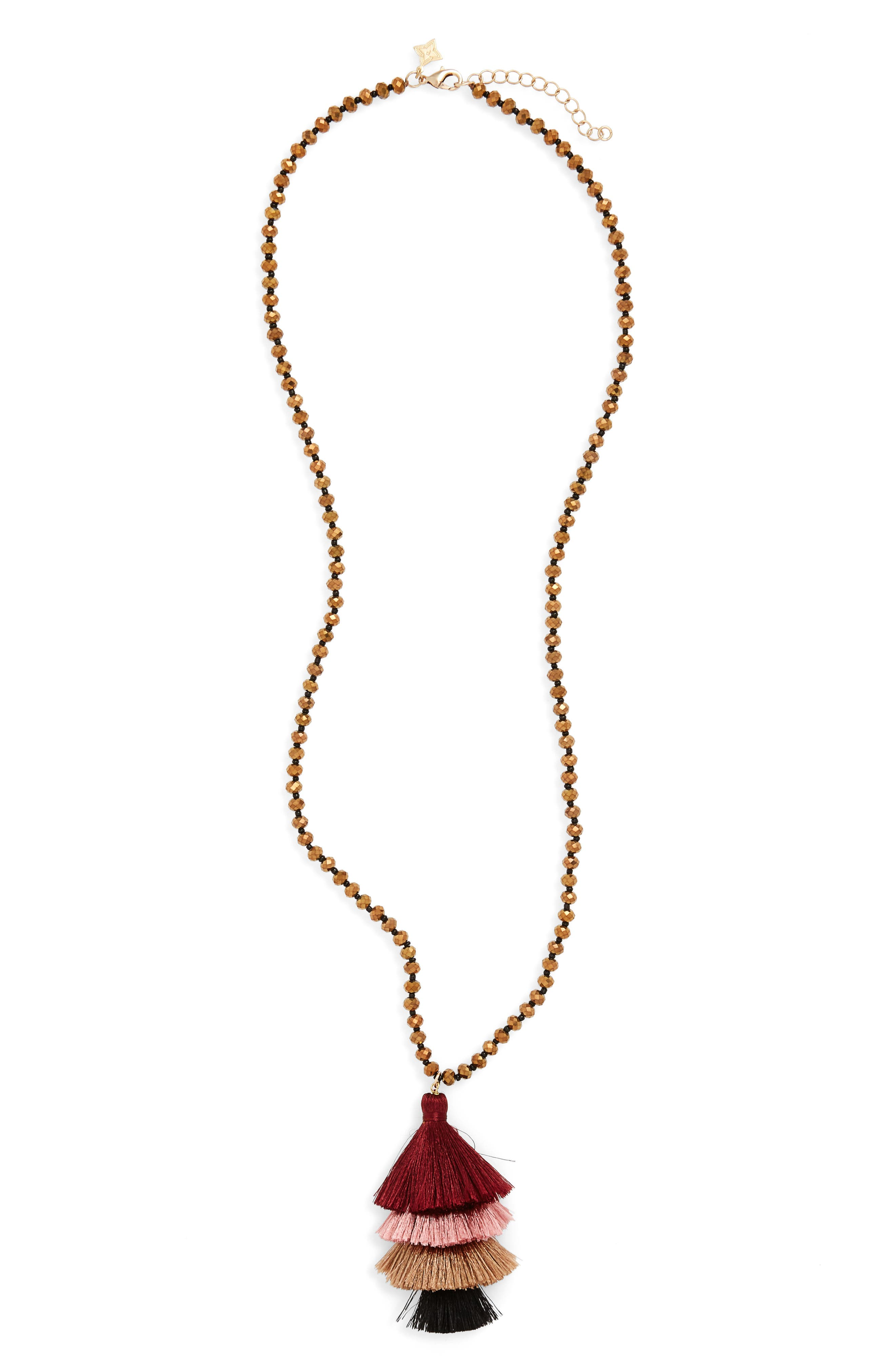 Stacked Tassel Necklace,                         Main,                         color, Burgundy