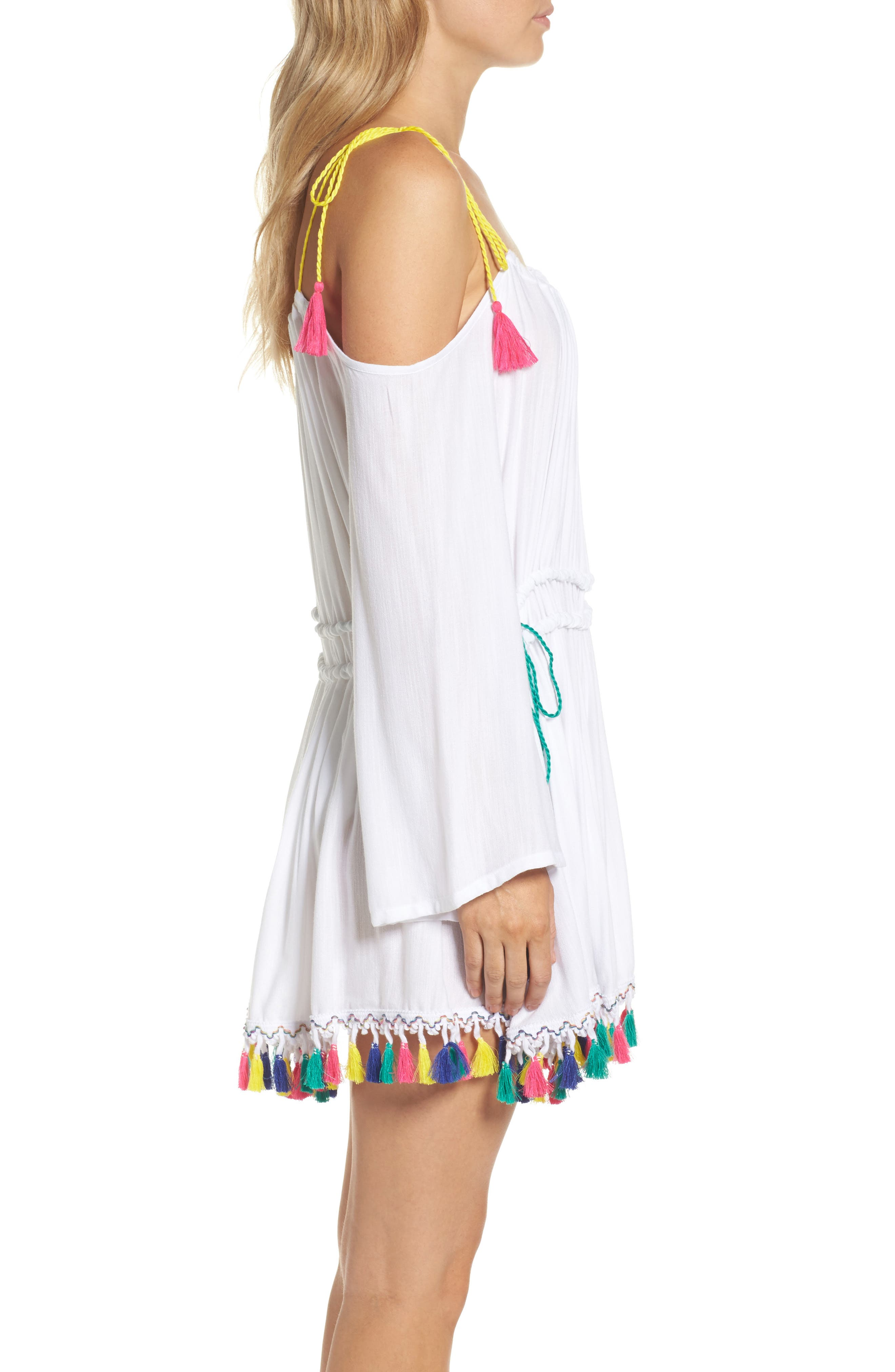 Fiesta Cover-Up Dress,                             Alternate thumbnail 3, color,                             White