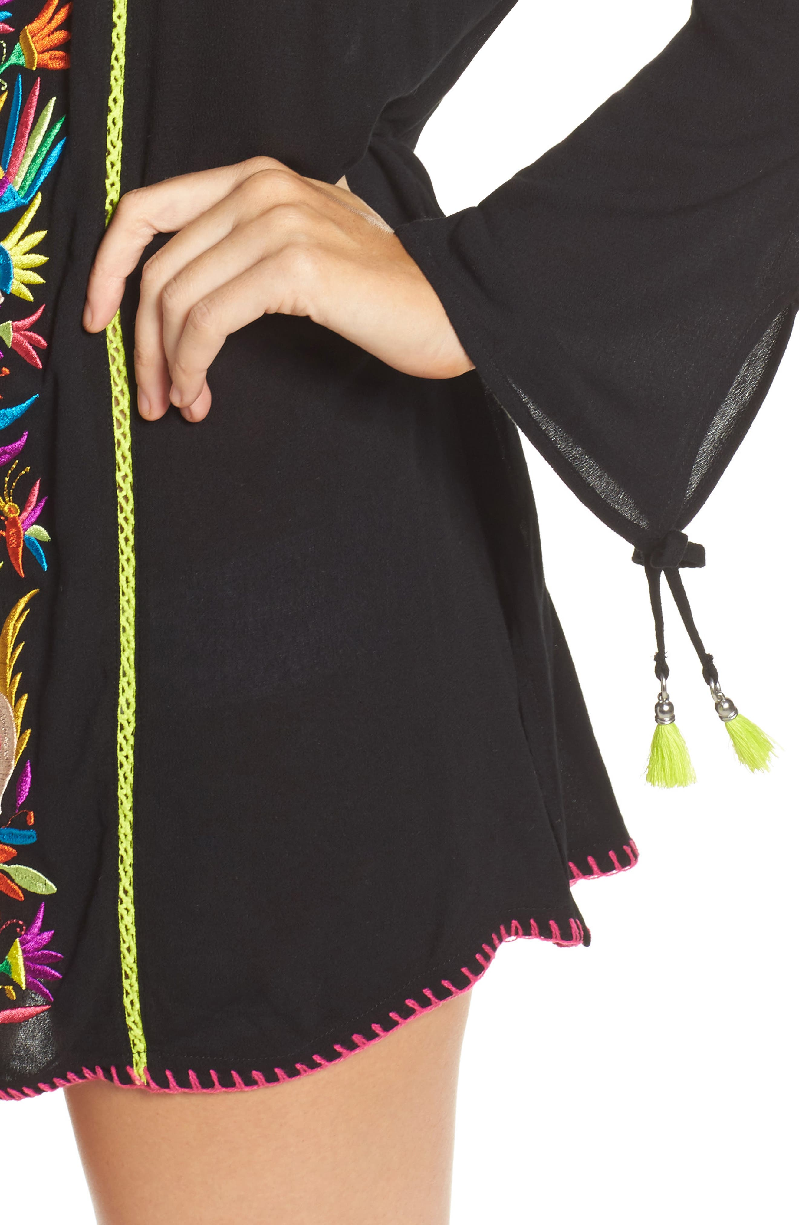Isla Marietas Off the Shoulder Cover-Up,                             Alternate thumbnail 4, color,                             Black