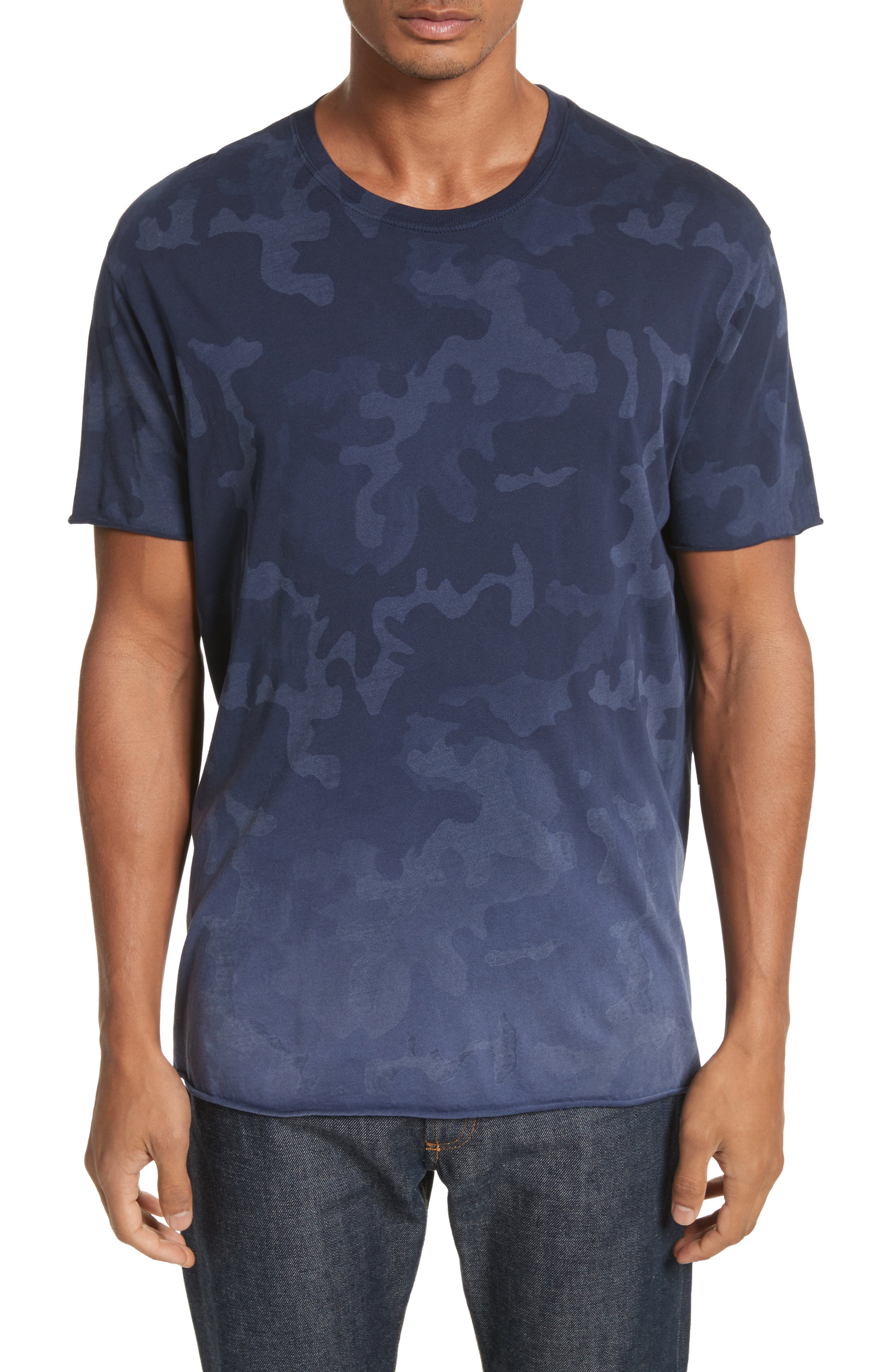 Camo Print Crewneck T-Shirt,                         Main,                         color, Blue Camo