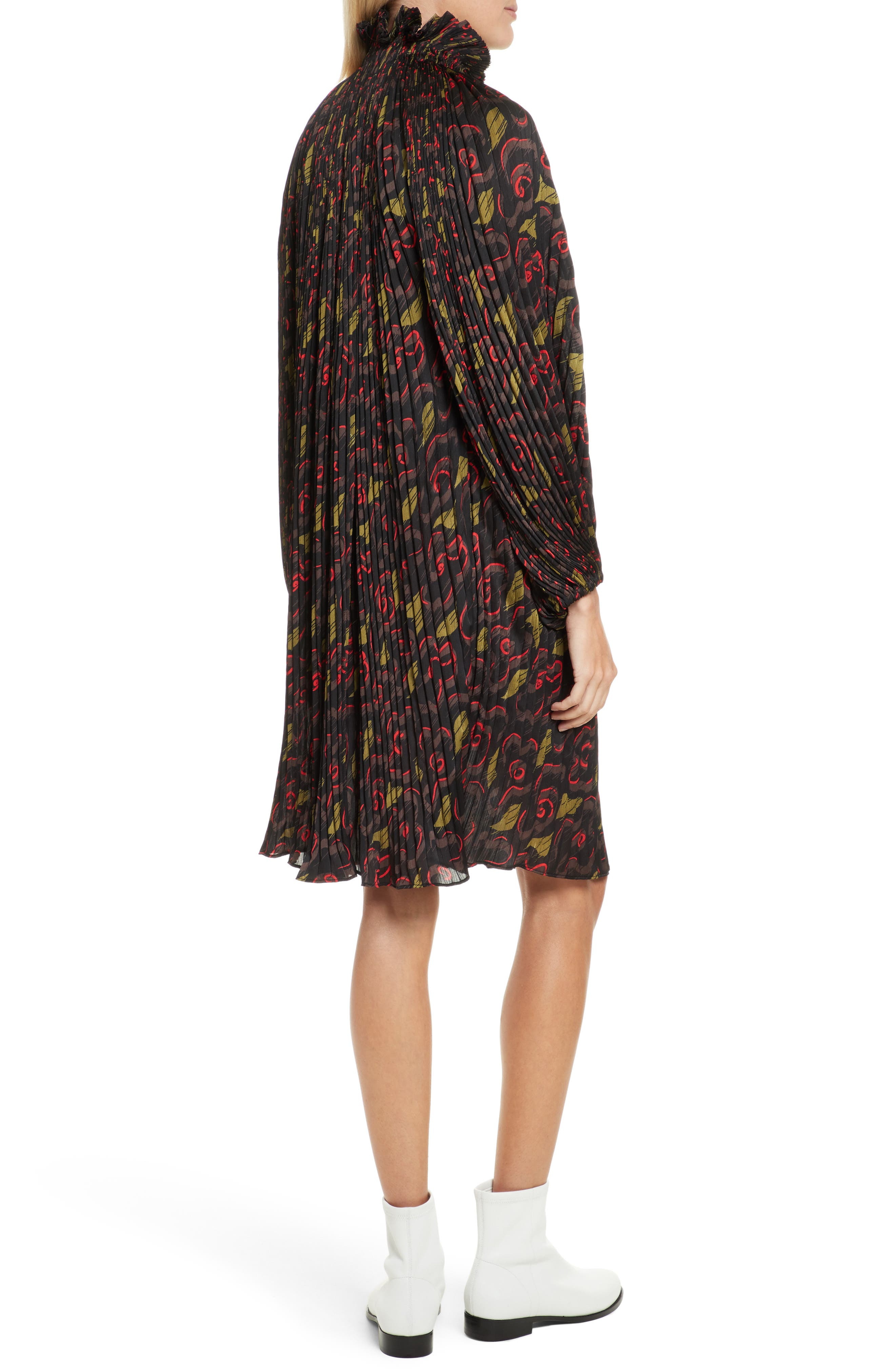 Pleated Floral Dress,                             Alternate thumbnail 2, color,                             Jewel Red Multi