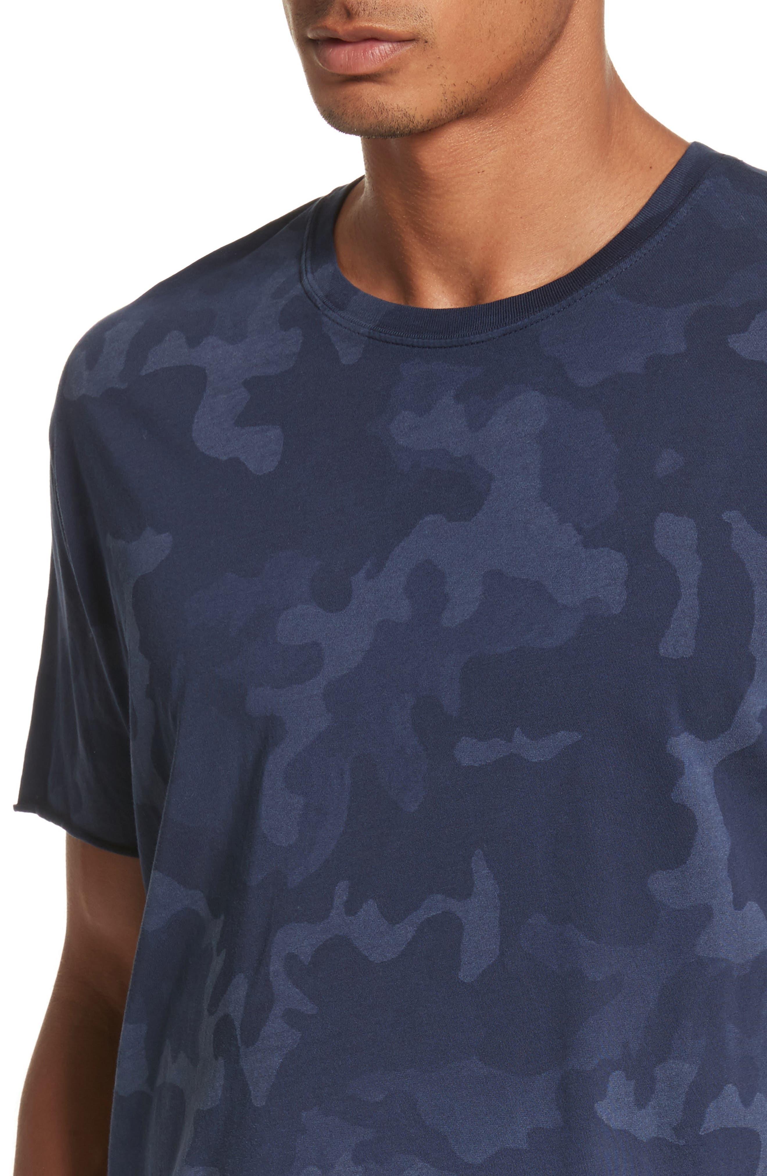 Camo Print Crewneck T-Shirt,                             Alternate thumbnail 4, color,                             Blue Camo