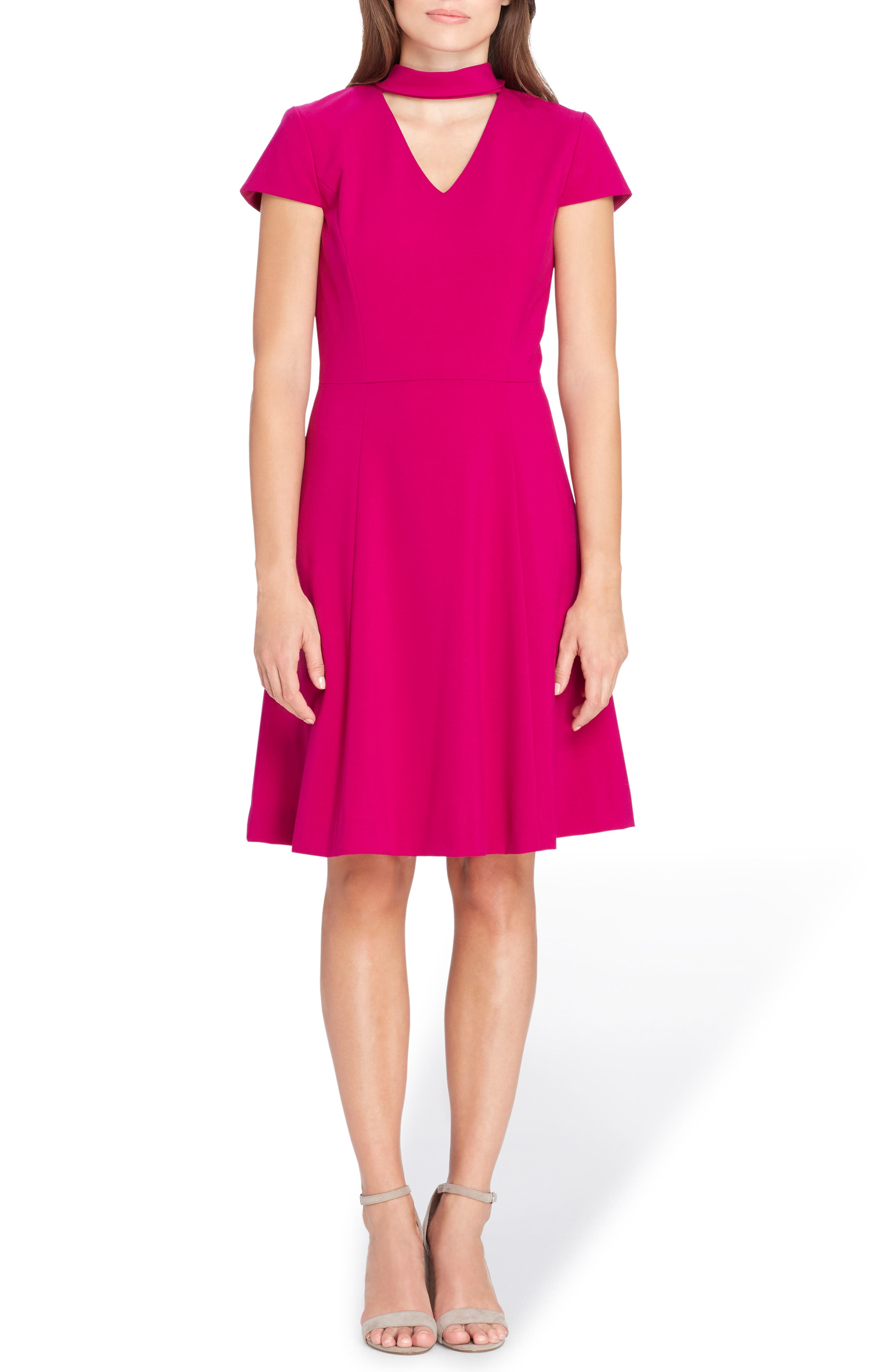 Choker Fit & Flare Dress,                         Main,                         color, Magenta