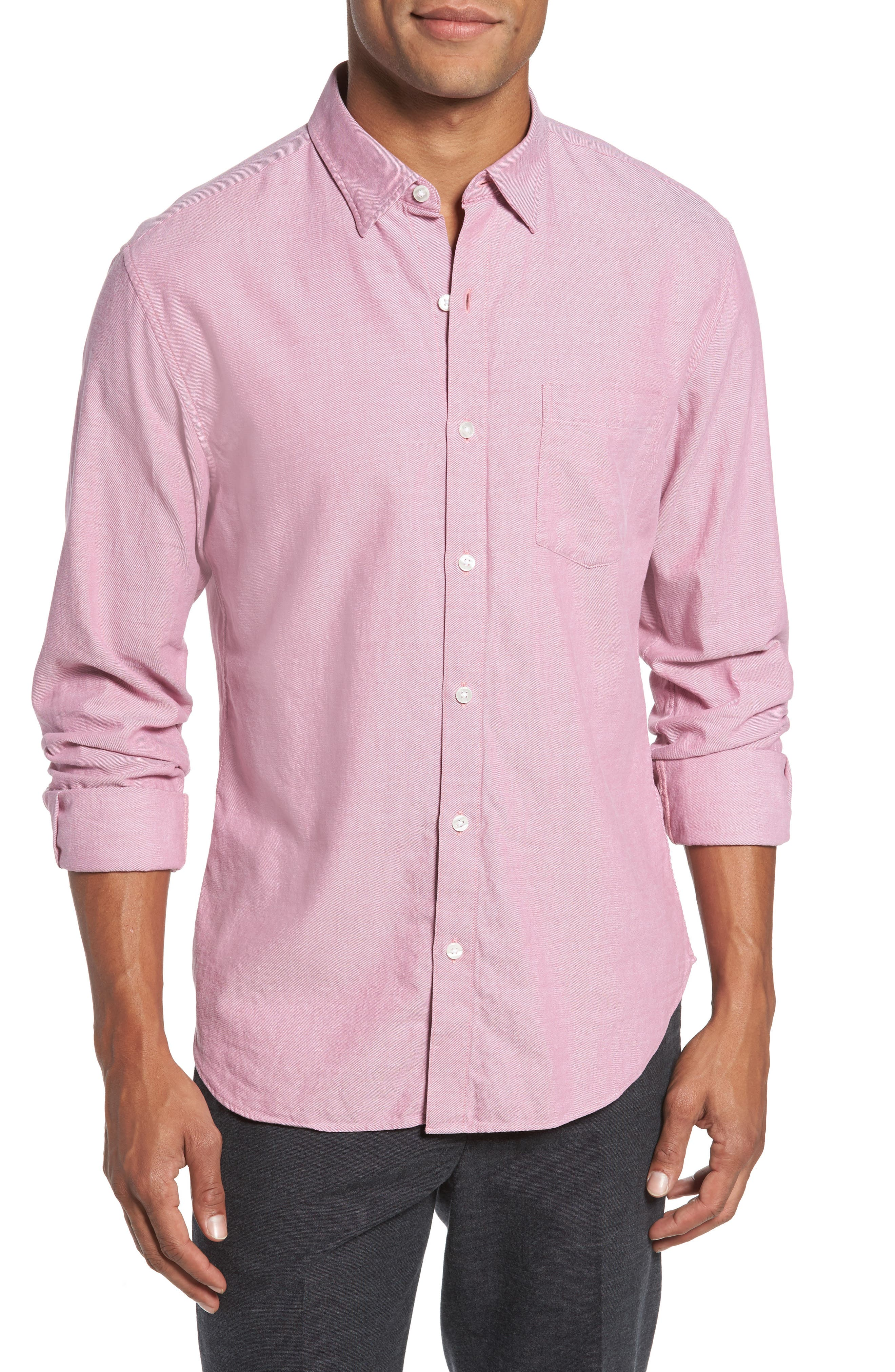 Slim Fit Brushed Twill Sport Shirt,                         Main,                         color, Heather Pink