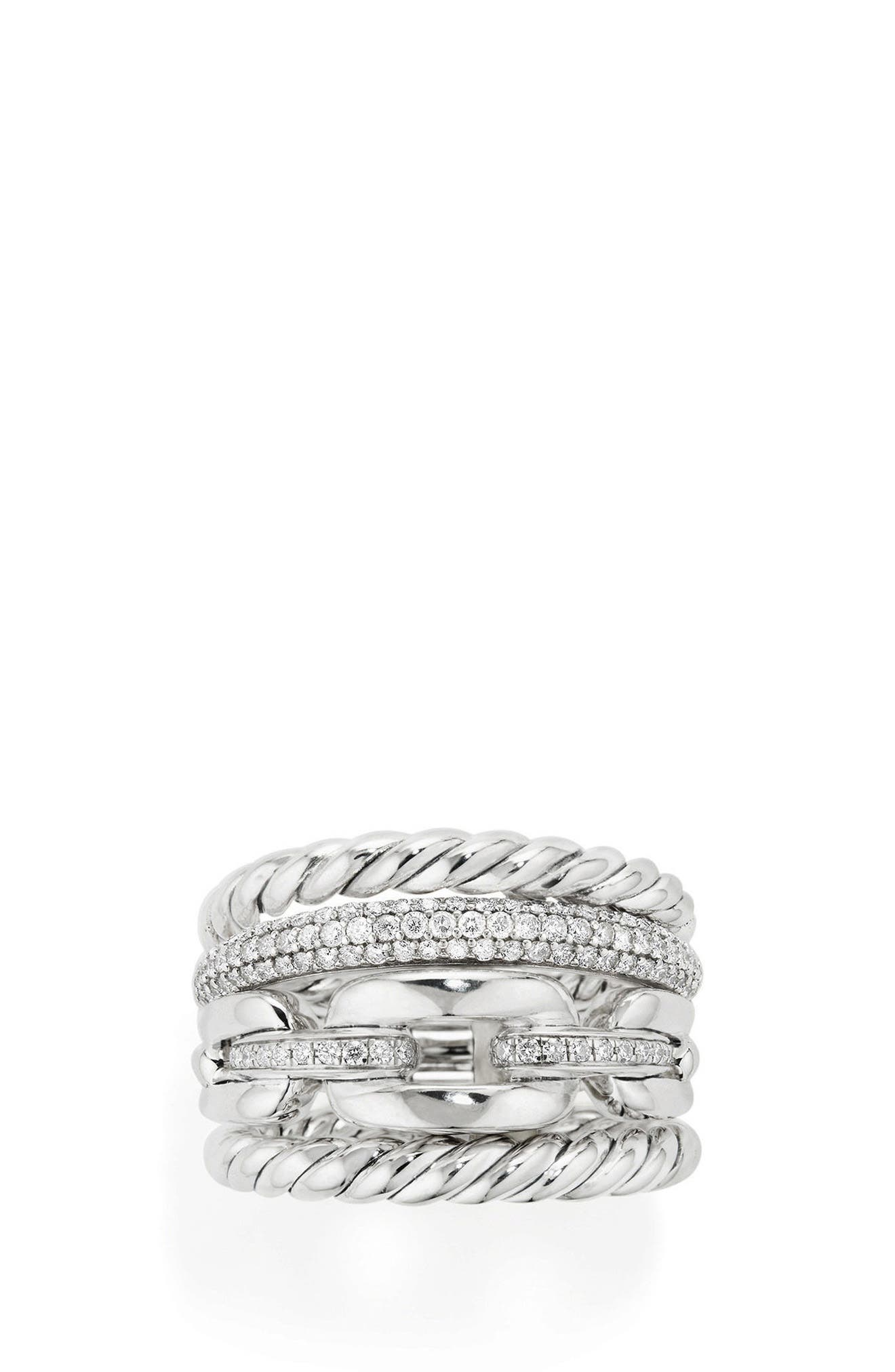 Wellesley Four-Row Ring with Diamonds,                             Alternate thumbnail 2, color,                             Silver