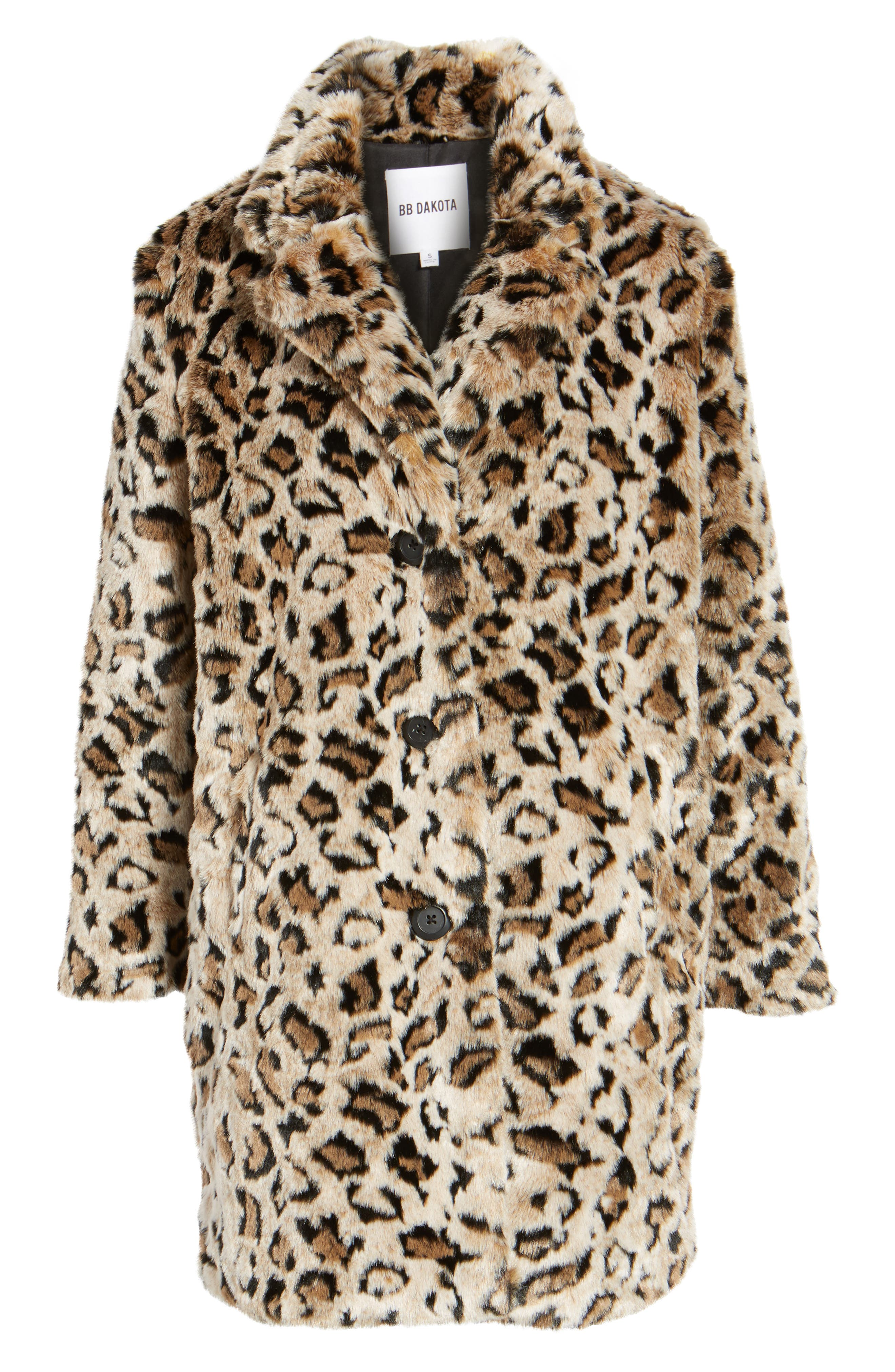 Rooney Leopard Spot Faux Fur Coat,                             Alternate thumbnail 6, color,                             Brown