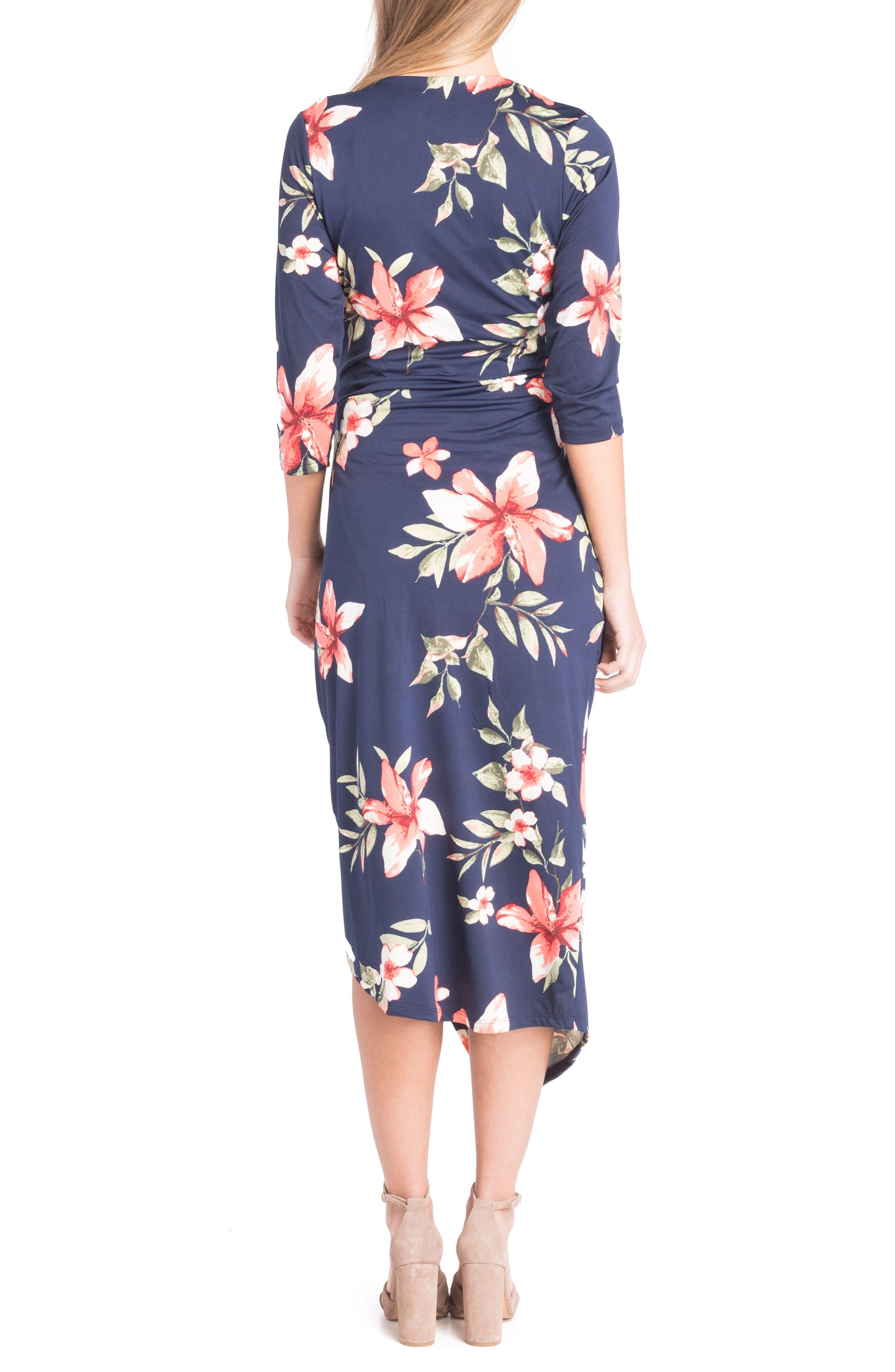 Alternate Image 2  - Lilac Clothing Asymmetrical Surplice Maternity/Nursing Dress