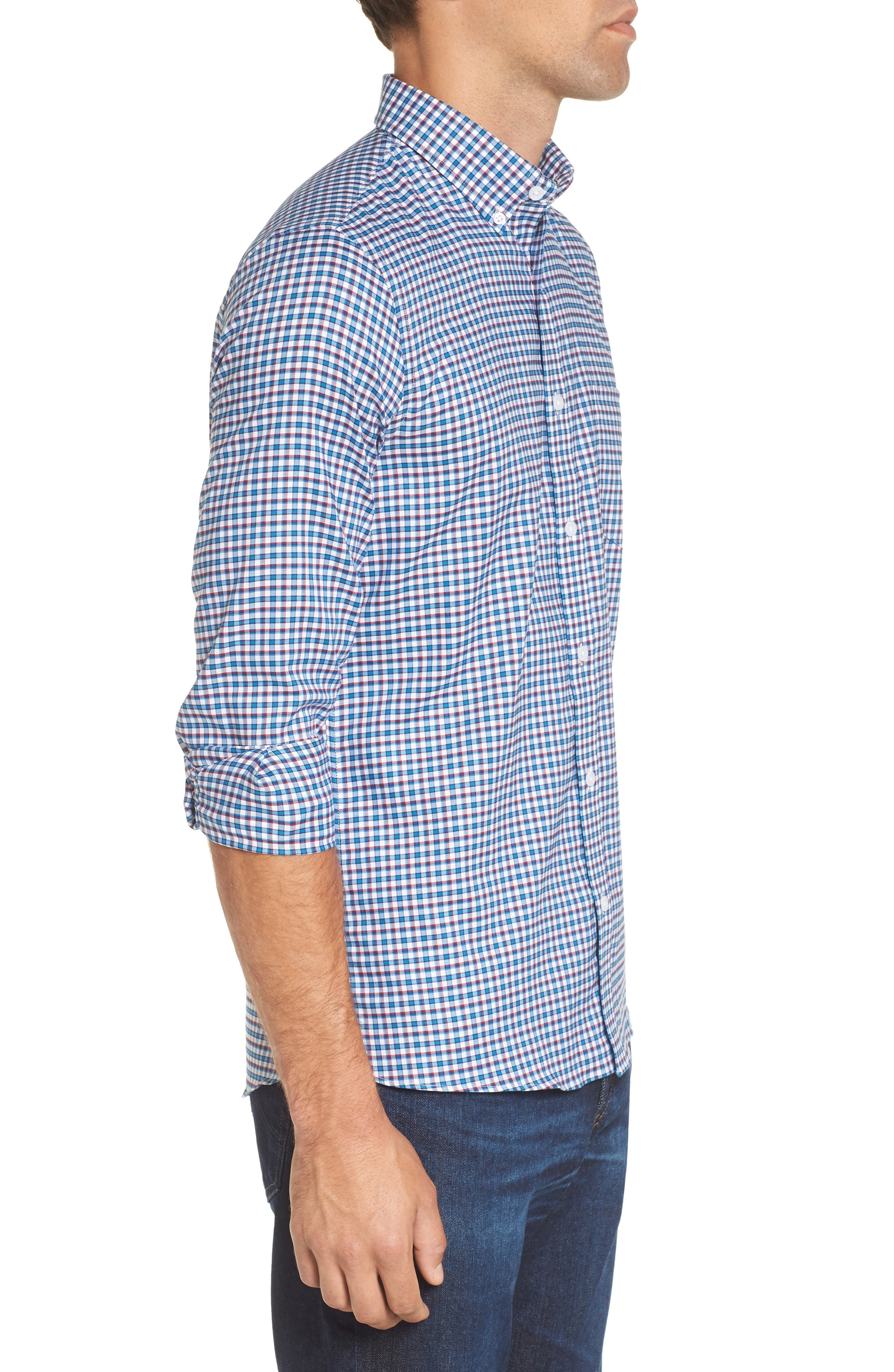 Slim Fit Tech-Smart Mini Check Sport Shirt,                             Alternate thumbnail 3, color,                             Blue Estate White Mini Check